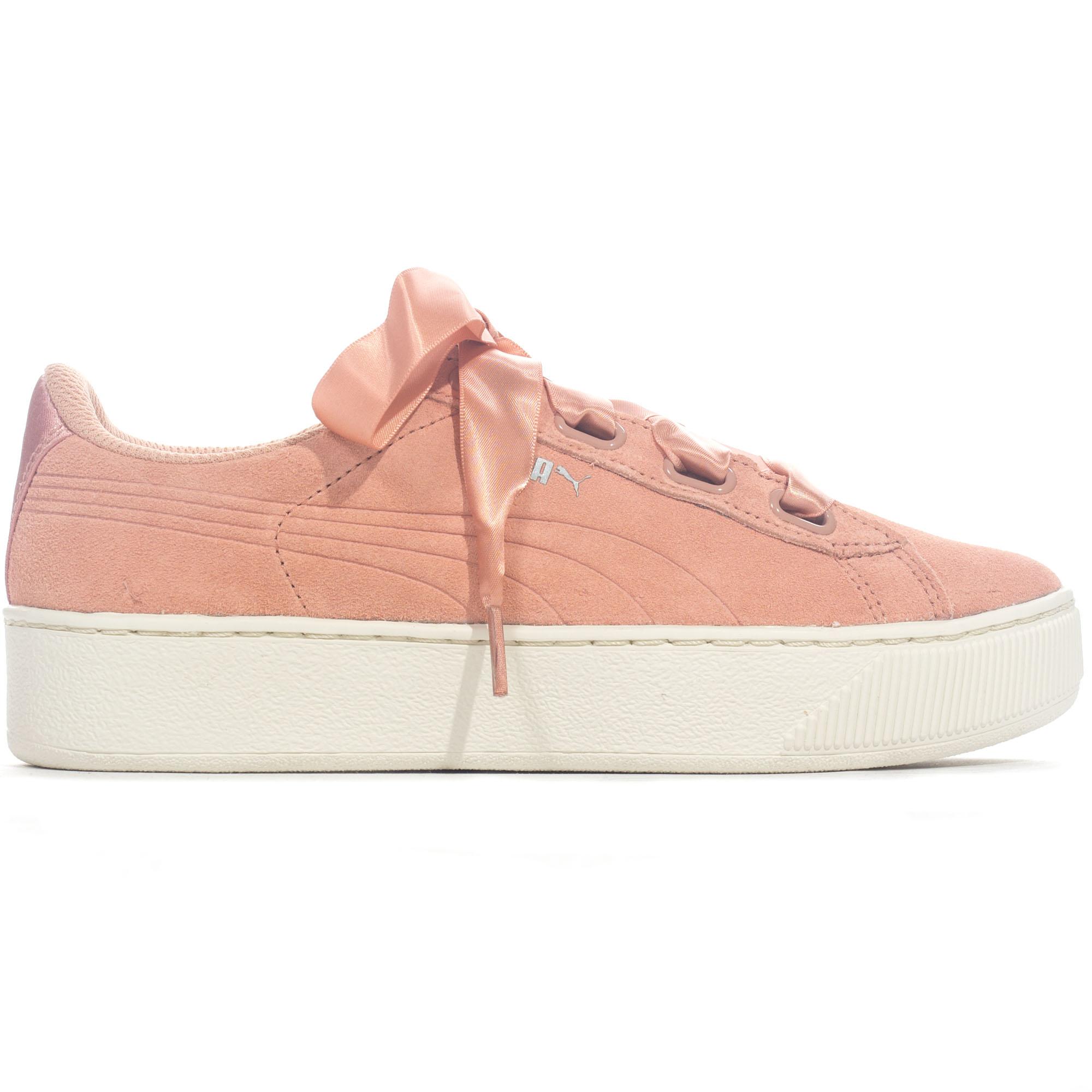 1d4fdacb57af Details about Puma Vikky Platform Ribbon Suede Womens Fashion Trainer Shoe  Coral