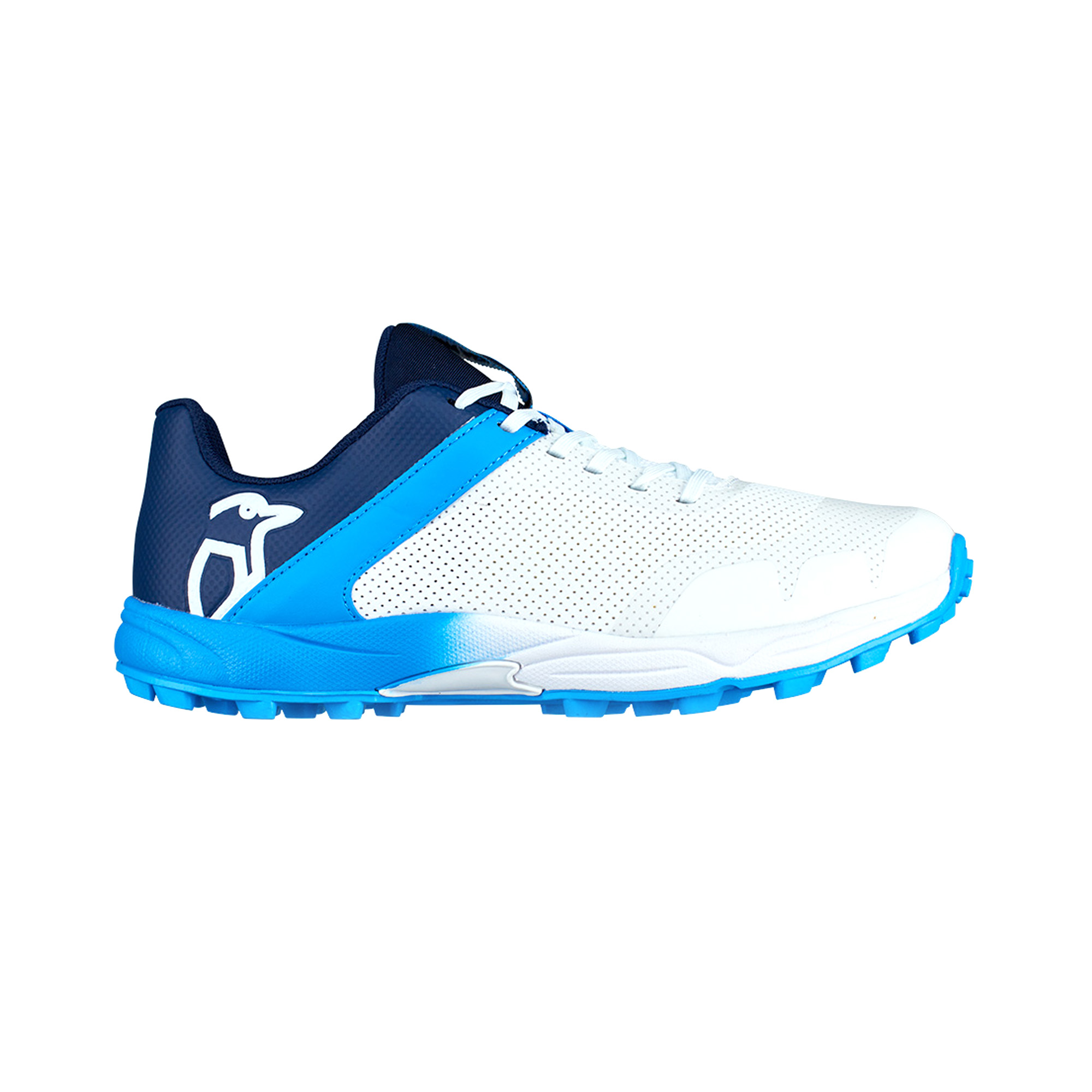 32db0f903735 Details about Kookaburra 2019 KC 2.0 Rubber Kids Junior Cricket Shoe Spike  White Blue