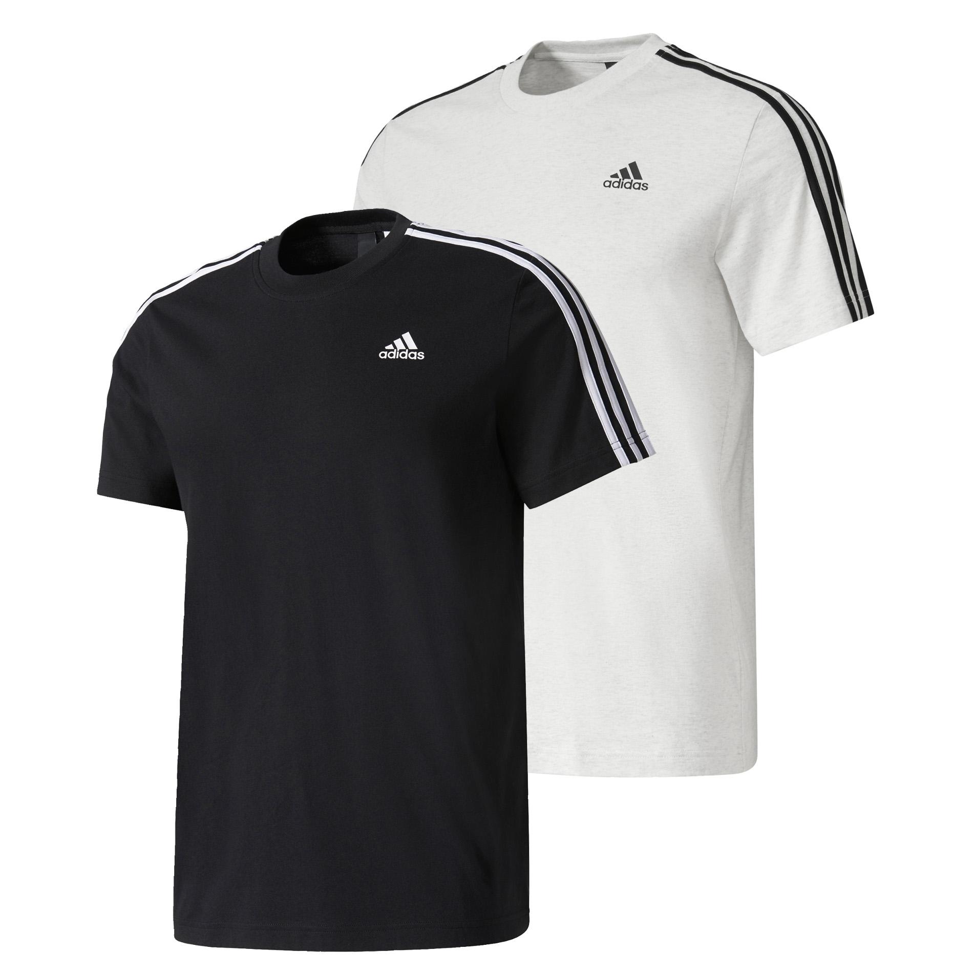 adidas sport essentials 3 stripe mens cotton t shirt tee. Black Bedroom Furniture Sets. Home Design Ideas