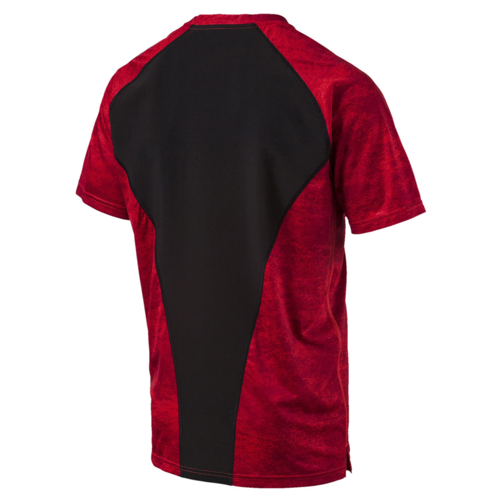 Puma-Vent-Graphic-Mens-Running-Exercise-Fitness-Training-Shirt-Red thumbnail 4