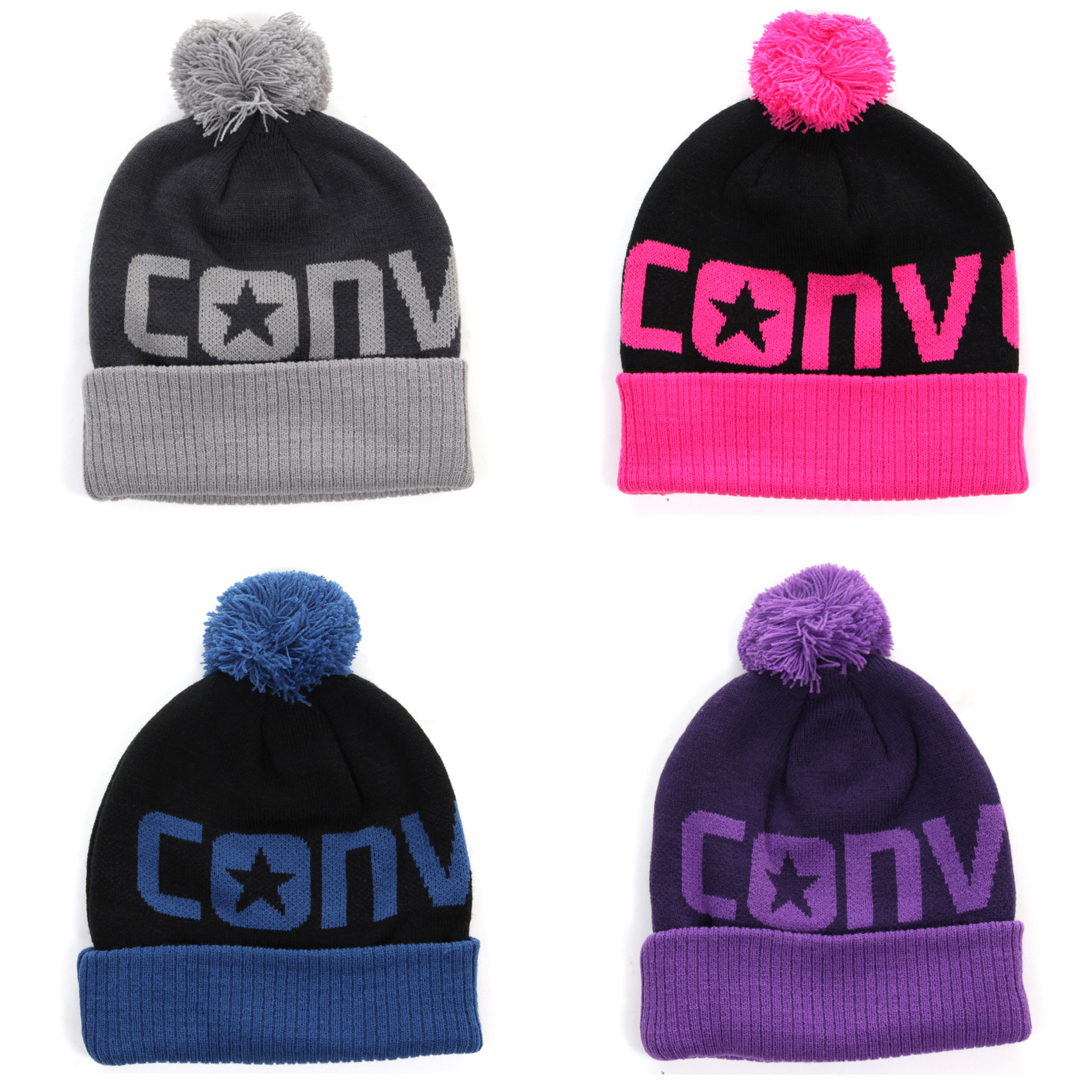 Converse All Star Kids Junior Boys Girls Pom Pom Beanie Hat  f2dfa1e85cf