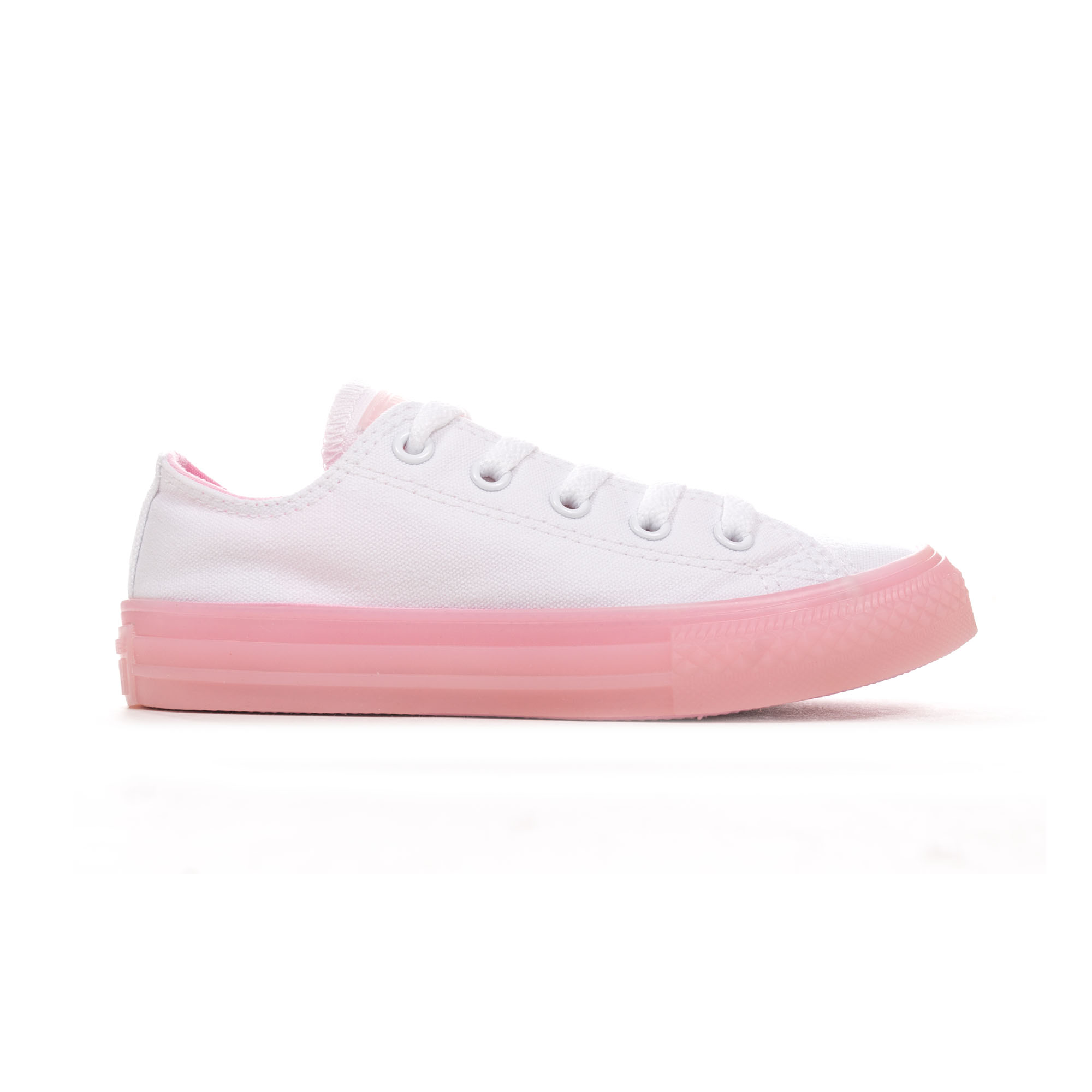 f435d27eb87fe9 Details about Converse Chuck Taylor All Star Seasonal Canvas Ox Junior  Trainer White Pink