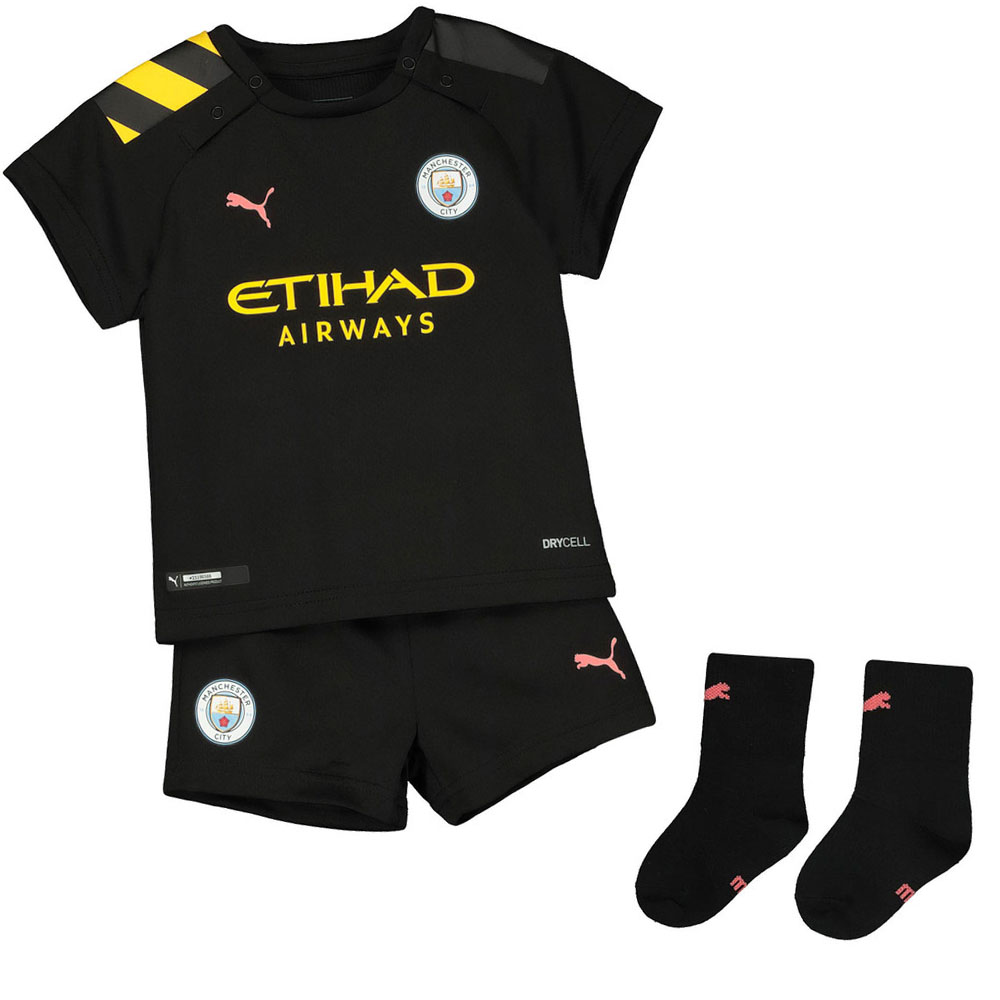 new style ee777 1665c Details about Puma Manchester City 2019/20 Infant Kids Baby Away Football  Kit Black