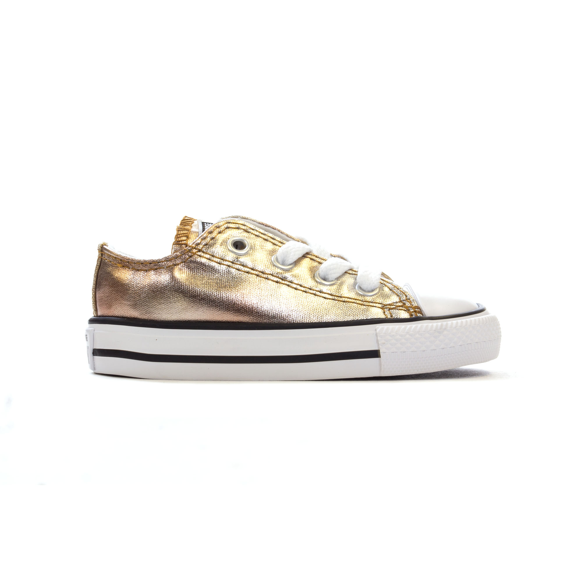 bdb56243bc9f Details about Converse Chuck Taylor All Star Metallic Ox Infant Kids  Trainer Shoe Silver Gold