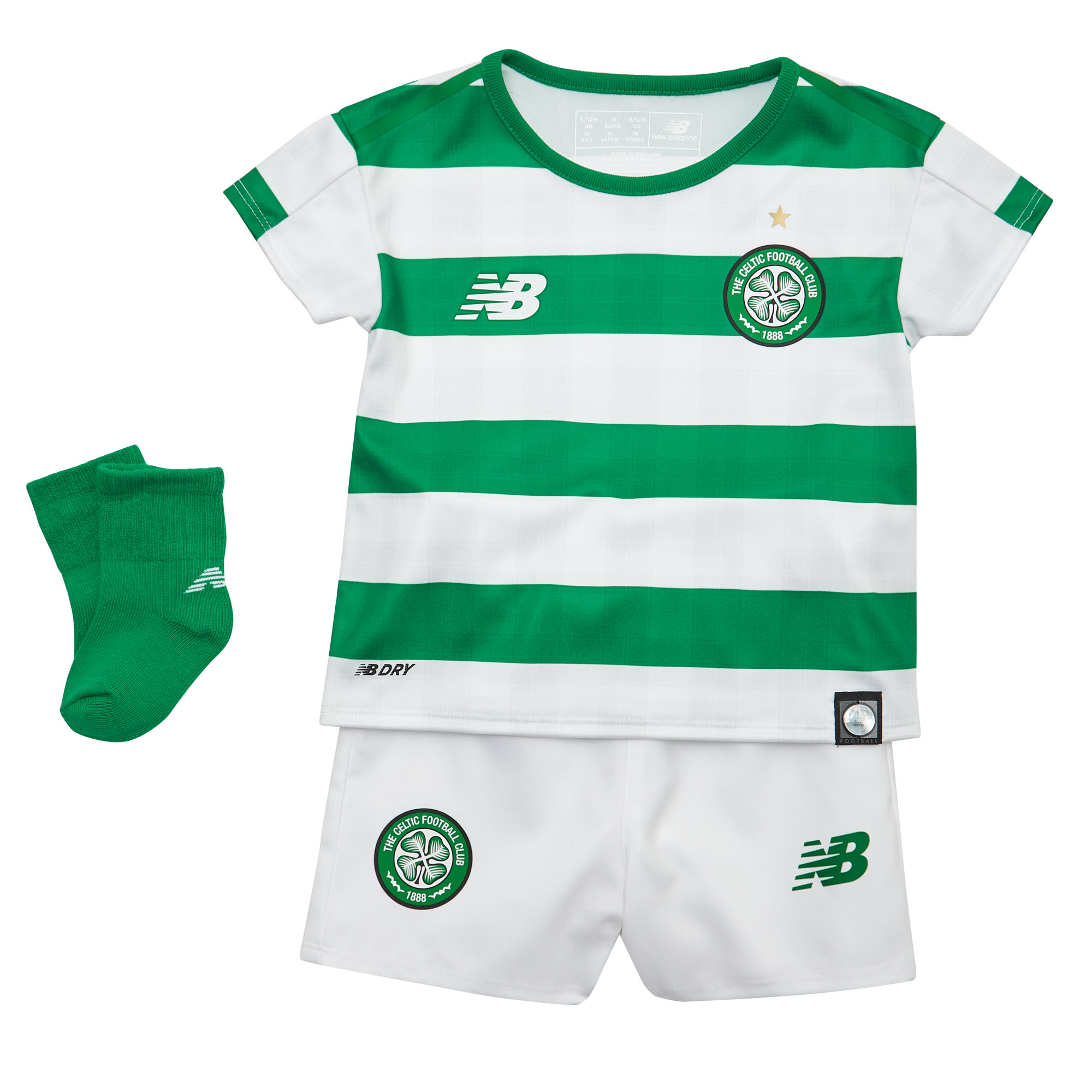 8761d9aef Details about New Balance Celtic FC 2018 19 Kids Baby Home Football Kit  White Green