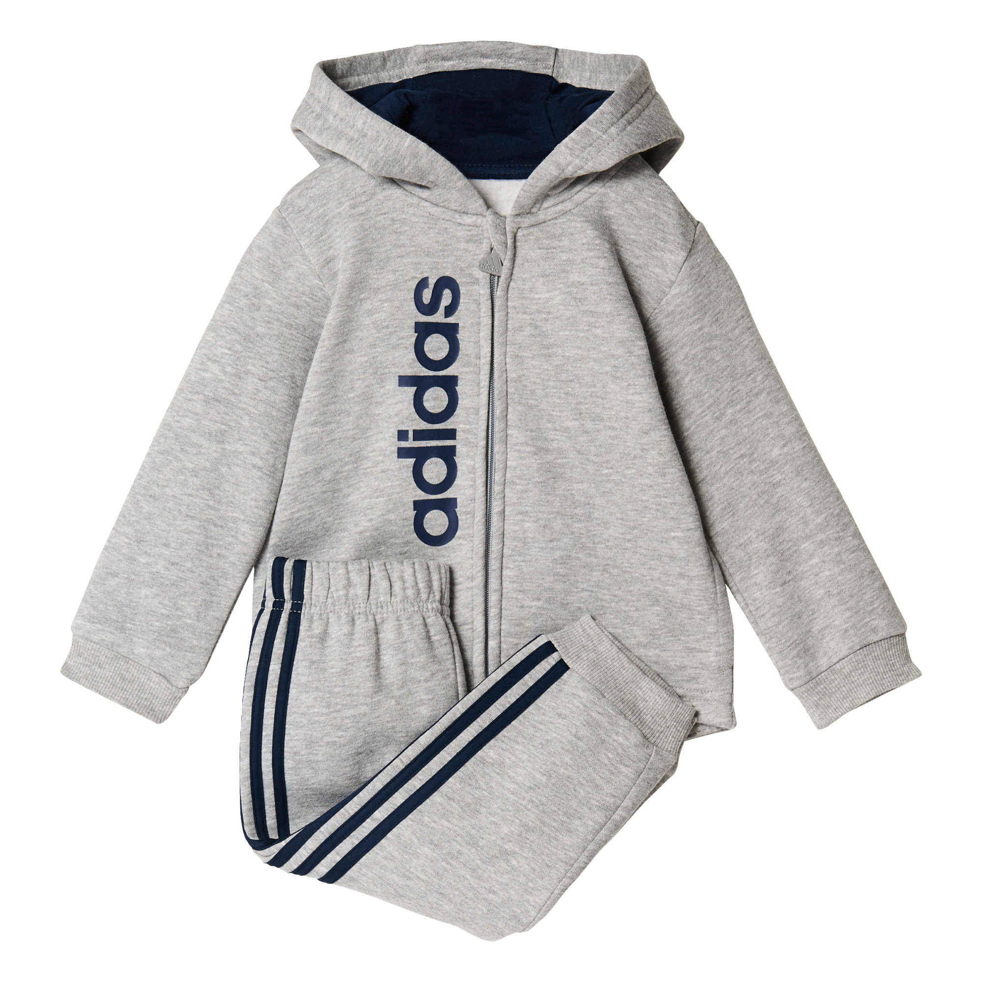 aa754163f Details about adidas Sports Fullzip Infant Toddler Boys Kids Jogger  Tracksuit Set Grey/Navy