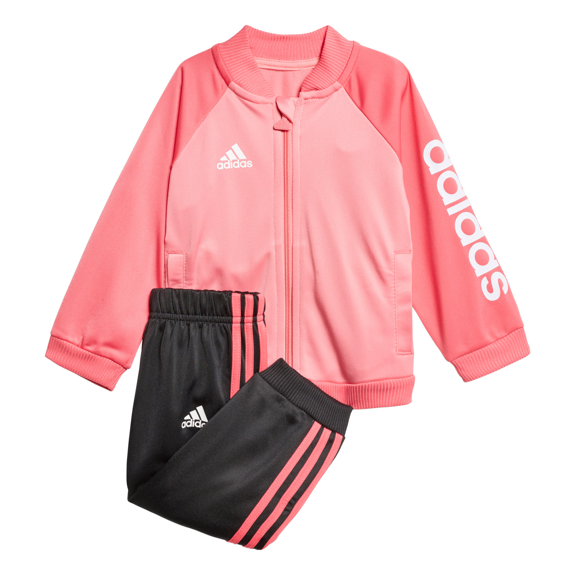 2fcb16c428a94 Details about adidas Shiny Sports Infant Toddler Baby Kids Girls Tracksuit  Set Pink