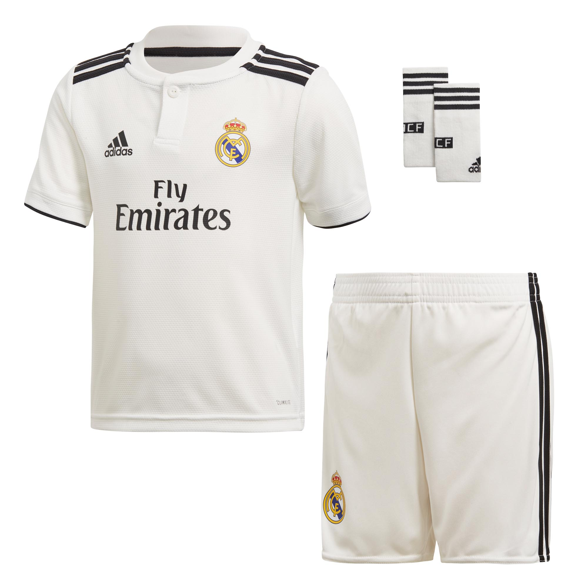 099e8875dc4 Details about adidas Real Madrid 2018 19 Kids Mini Home Football Soccer Kit  Set White