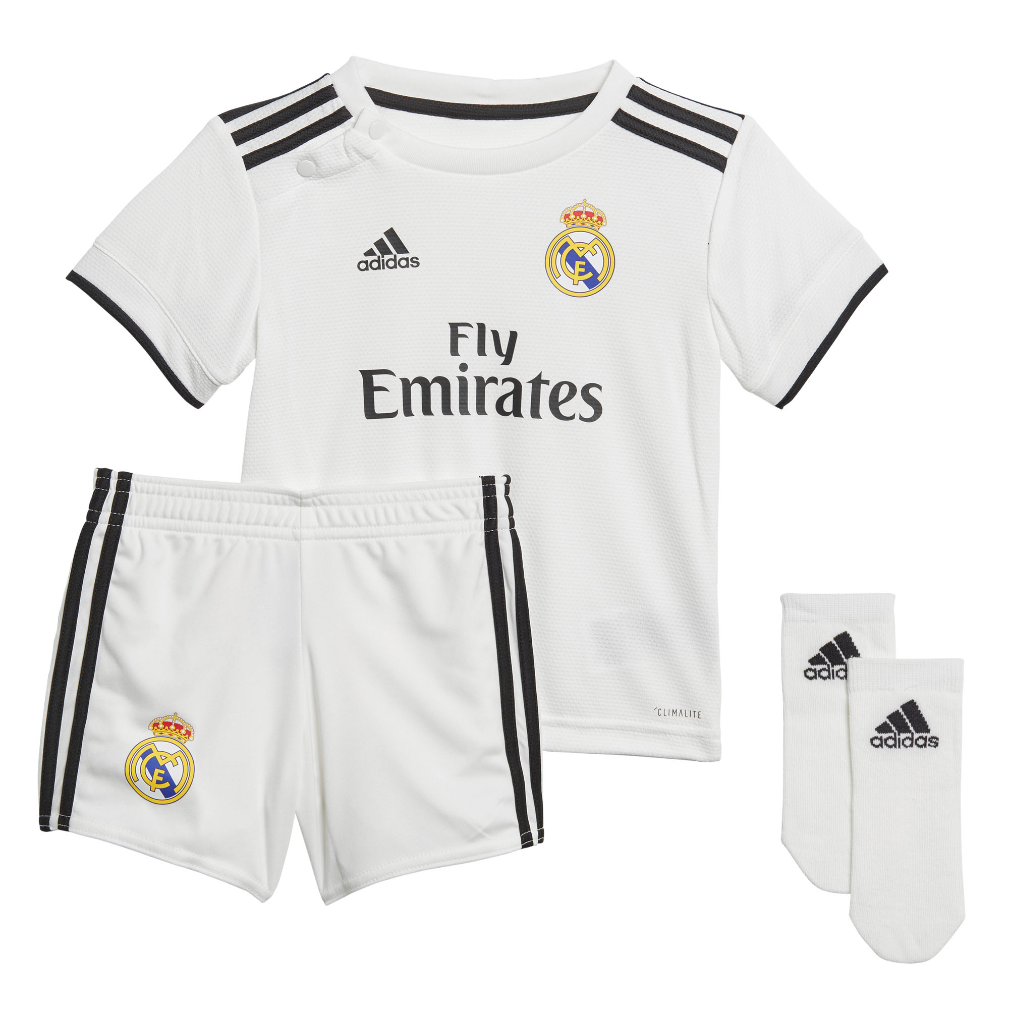 0c268e853 Details about adidas Real Madrid 2018 19 Infant Baby Kids Home Mini  Football Kit White