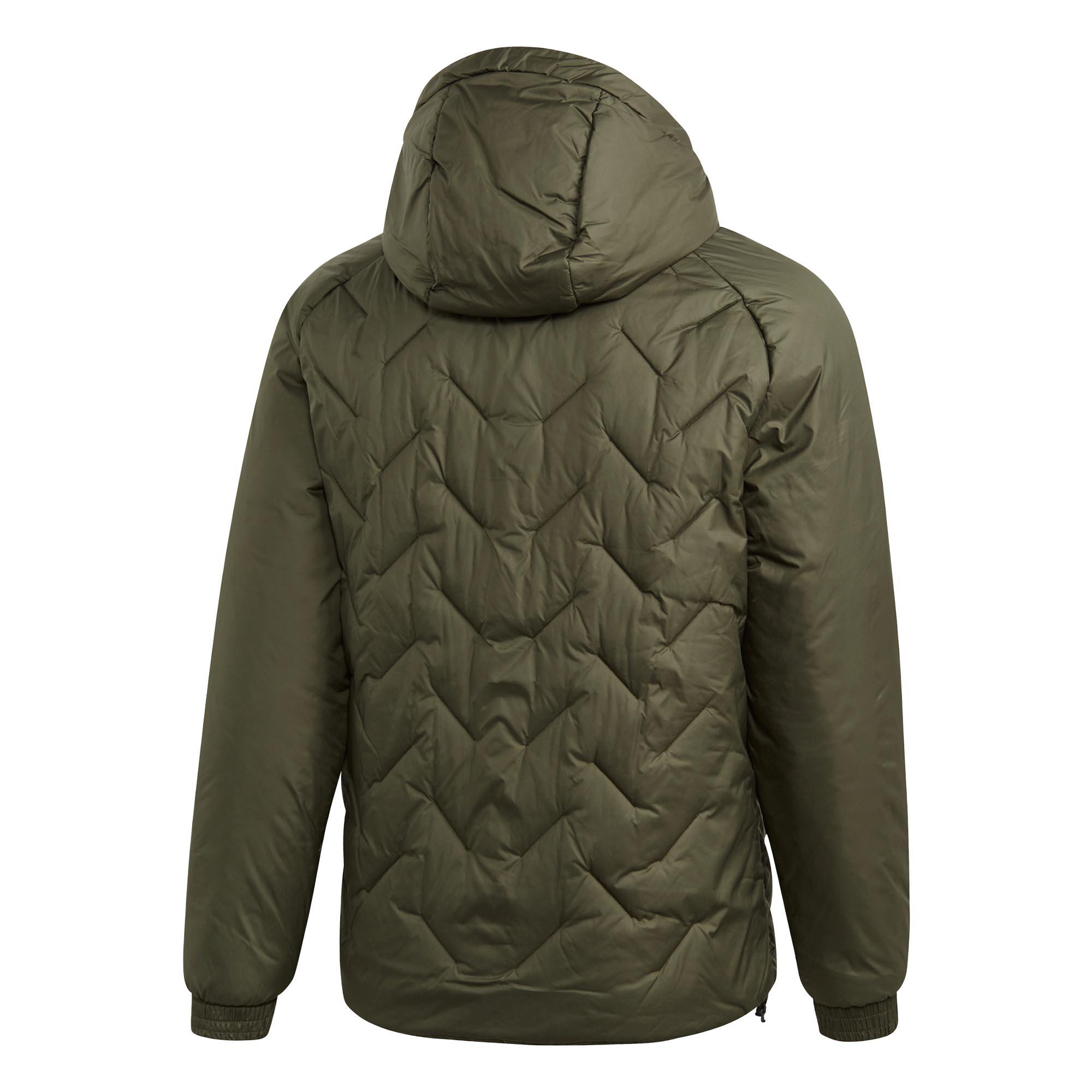 adidas-BTS-Winter-Mens-Padded-Water-Repellant-Hooded-Coat-Jacket-Green thumbnail 7