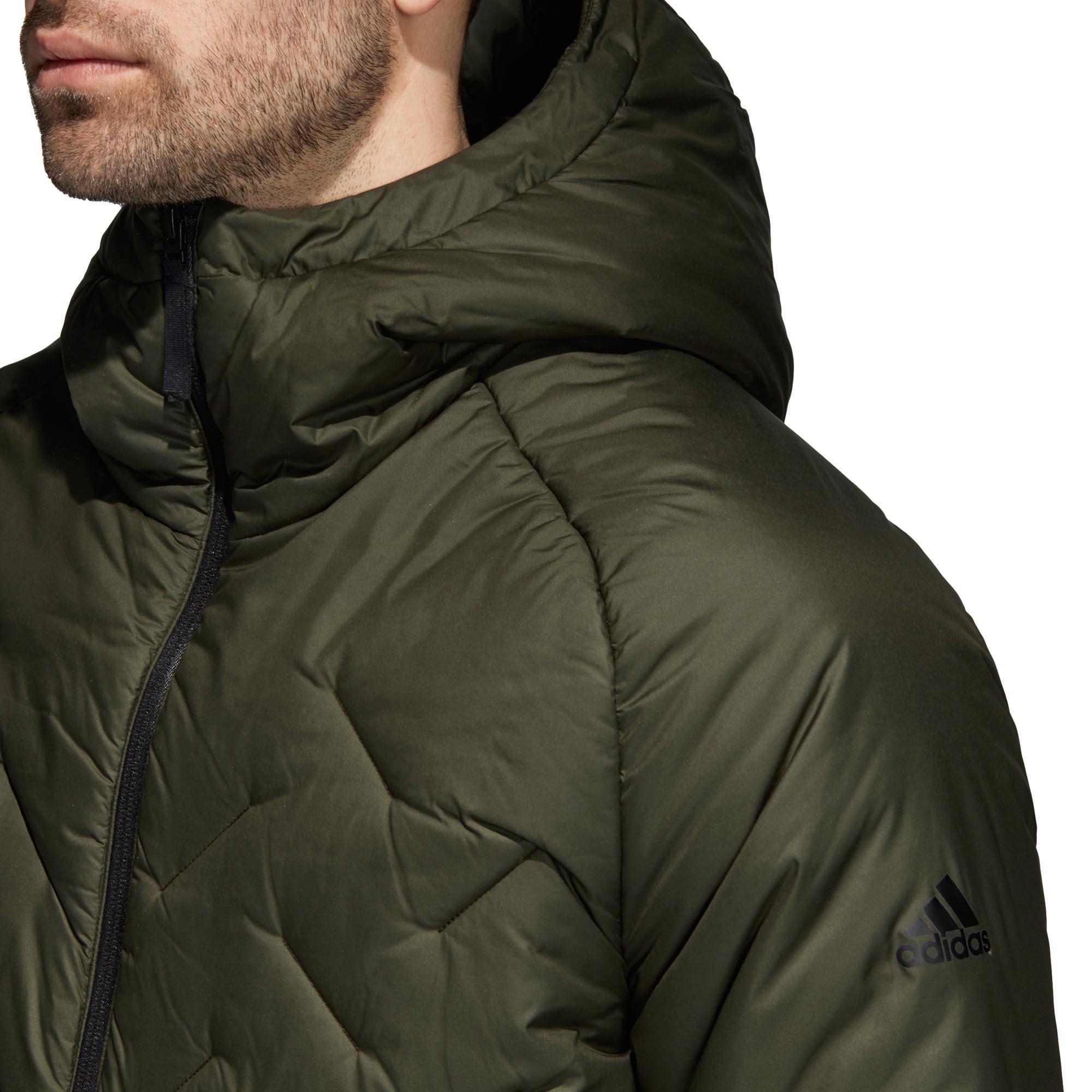 adidas-BTS-Winter-Mens-Padded-Water-Repellant-Hooded-Coat-Jacket-Green thumbnail 8