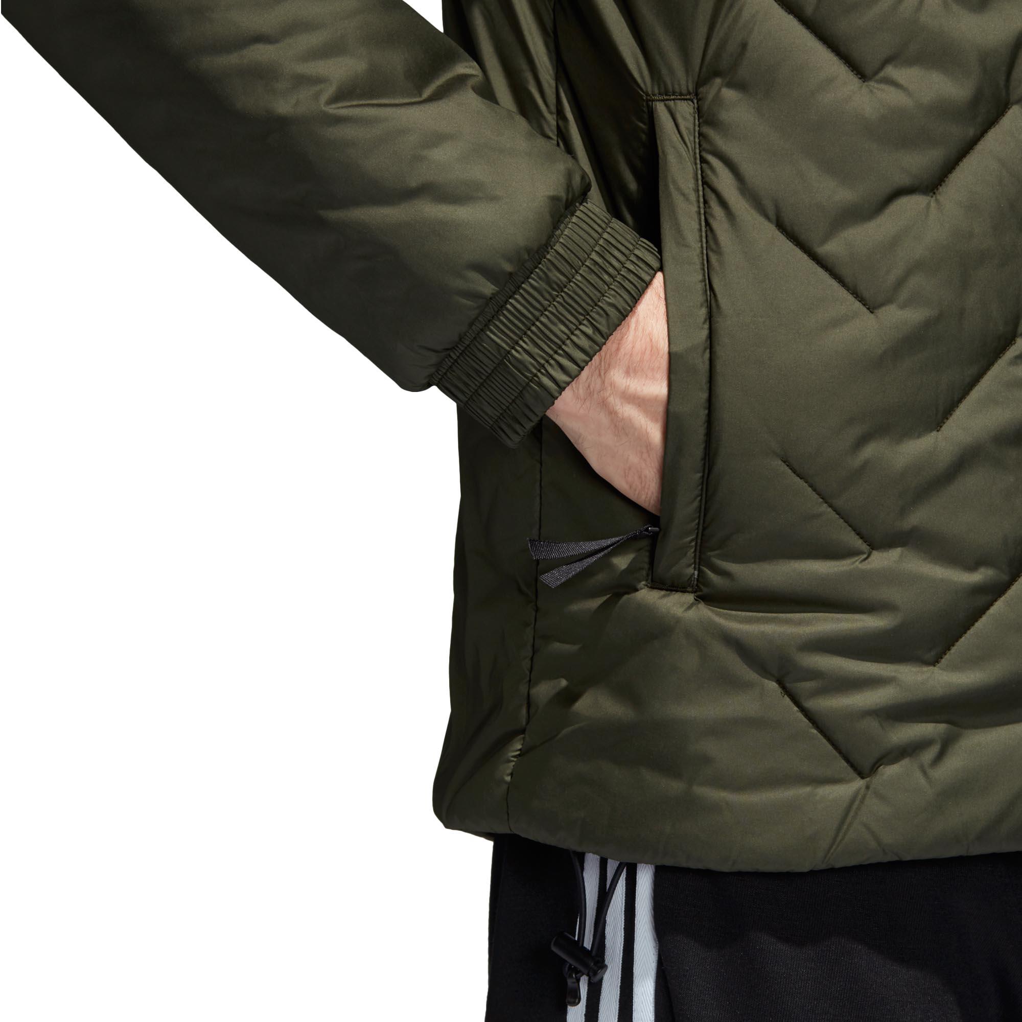 adidas-BTS-Winter-Mens-Padded-Water-Repellant-Hooded-Coat-Jacket-Green thumbnail 10