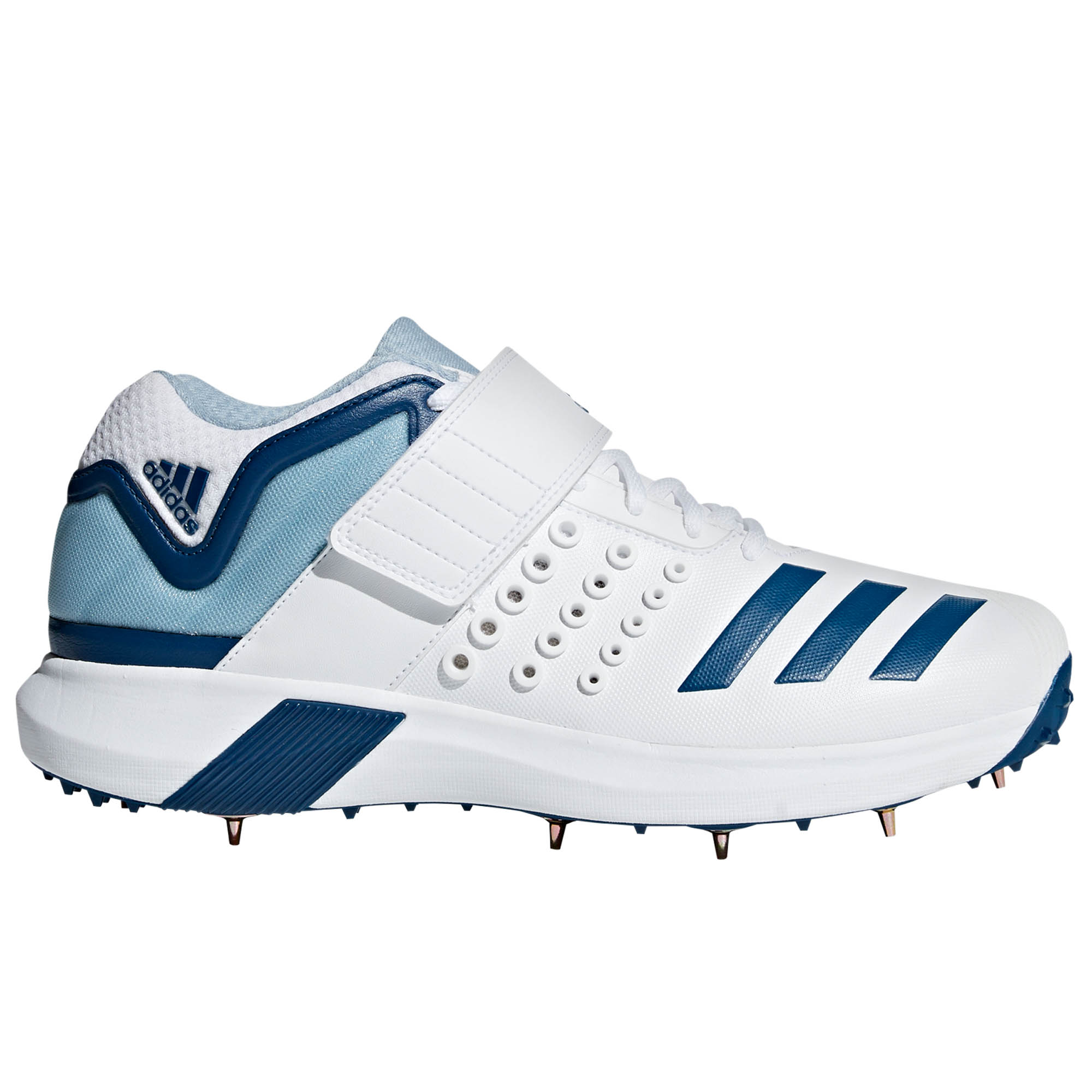 35296d04326a Details about adidas adiPower Vector Mid Mens Adult Cricket Trainer Spike Shoe  White Blue