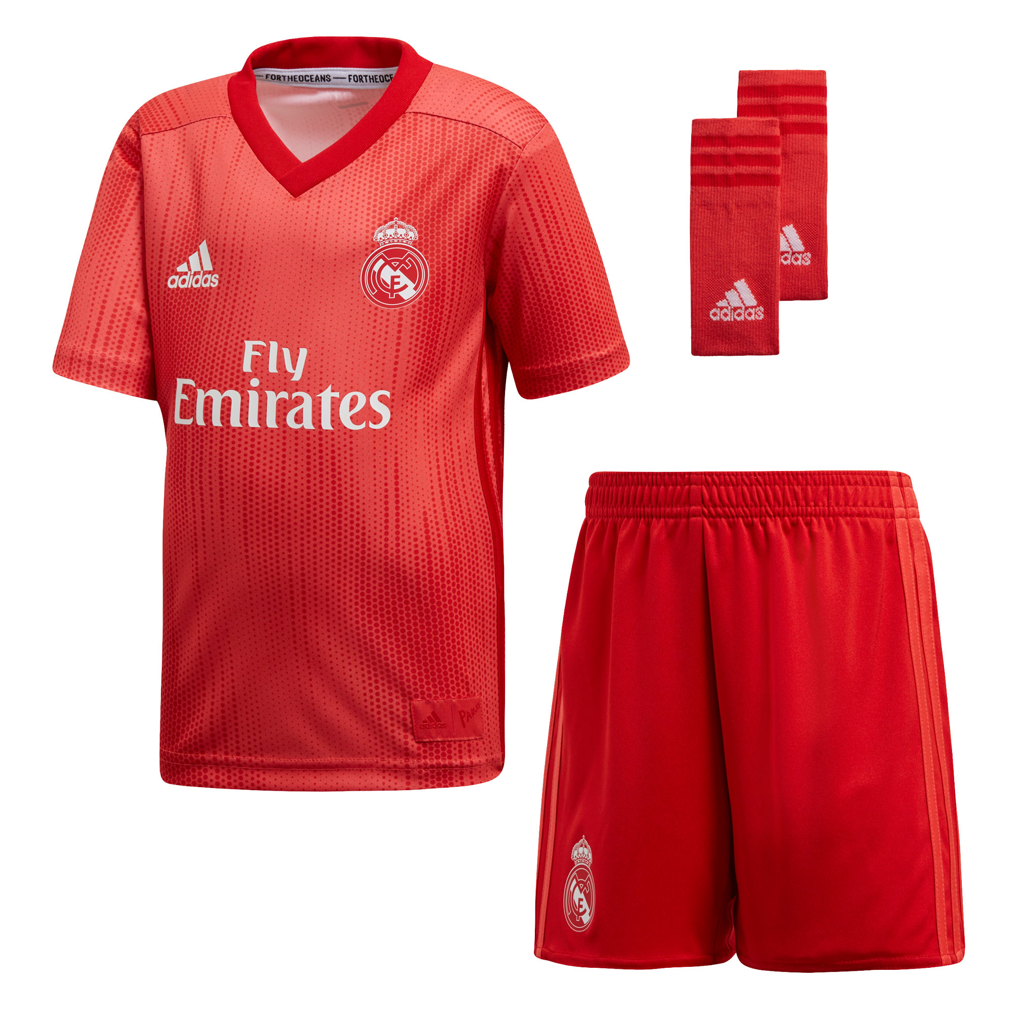 8b38a27632c Details about adidas Real Madrid 2018 19 Kids Mini Third Football Soccer Kit  Set Coral