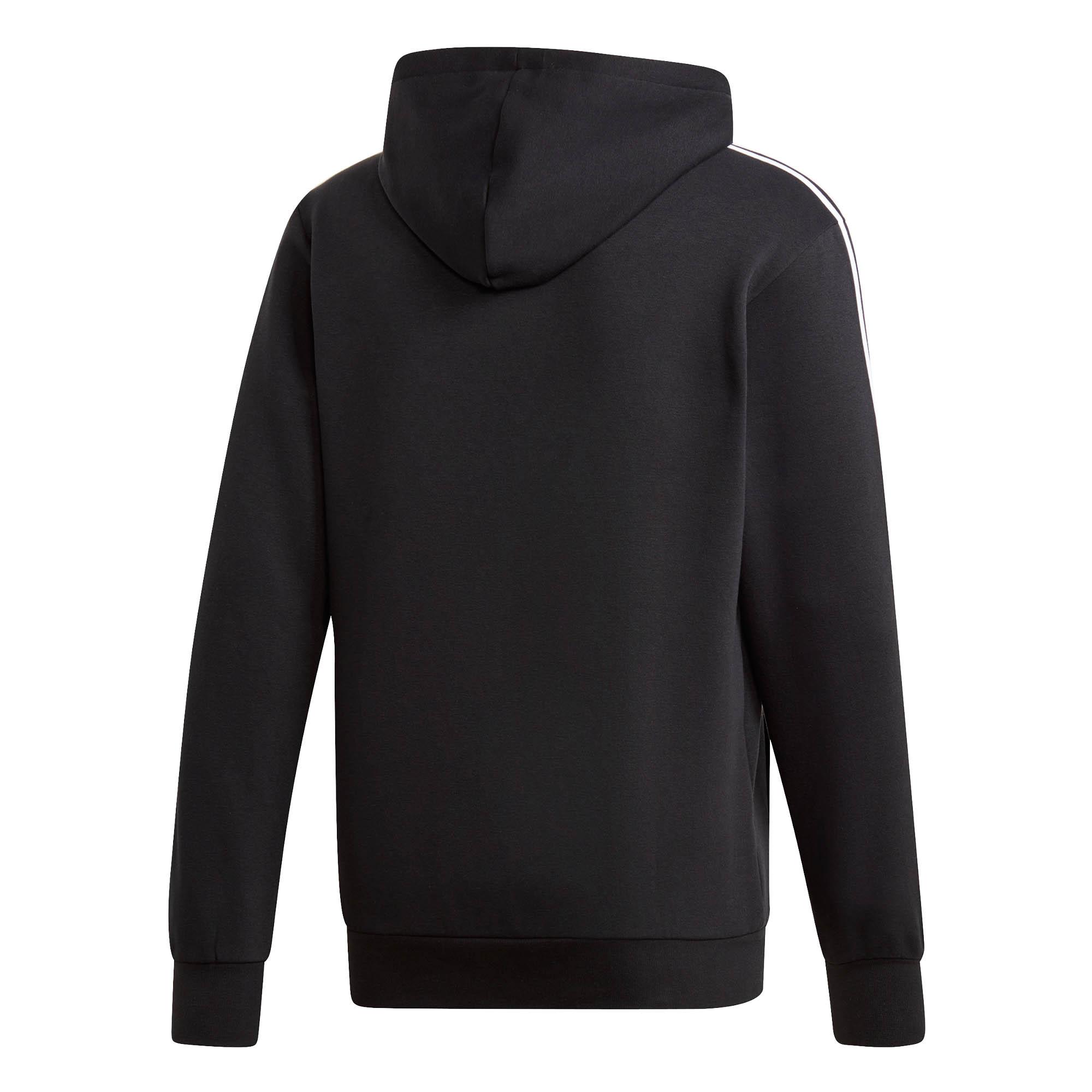 adidas-Essential-3-Stripe-Mens-Over-Head-Hoodie-Hoody-Jacket-Black-White thumbnail 4
