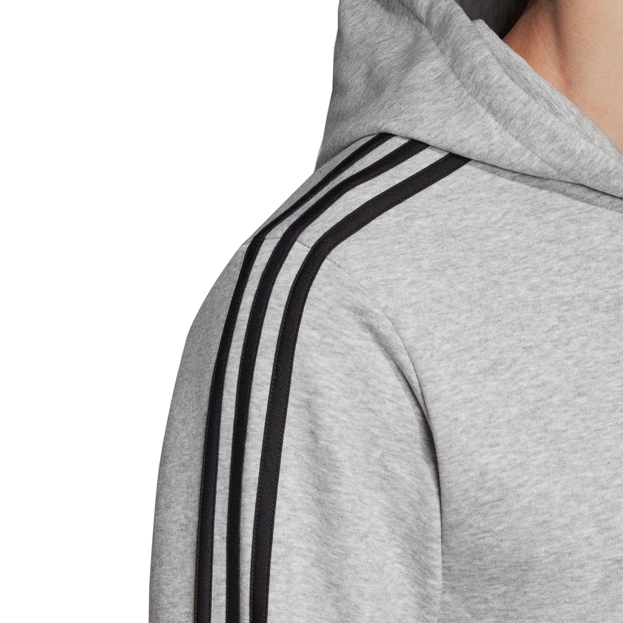 adidas-Essential-3-Stripe-Mens-Full-Zip-Hoodie-Hoody-Jacket-Grey-Black thumbnail 7