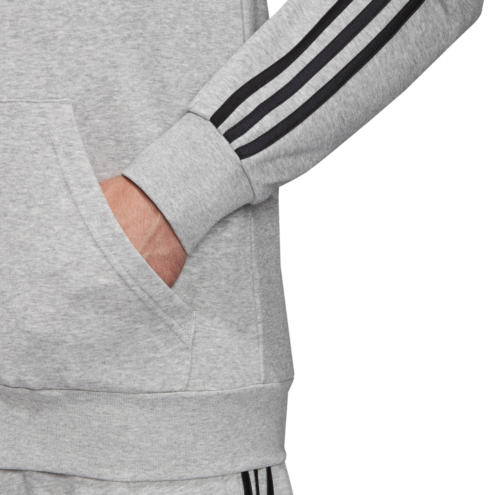 adidas-Essential-3-Stripe-Mens-Full-Zip-Hoodie-Hoody-Jacket-Grey-Black thumbnail 8
