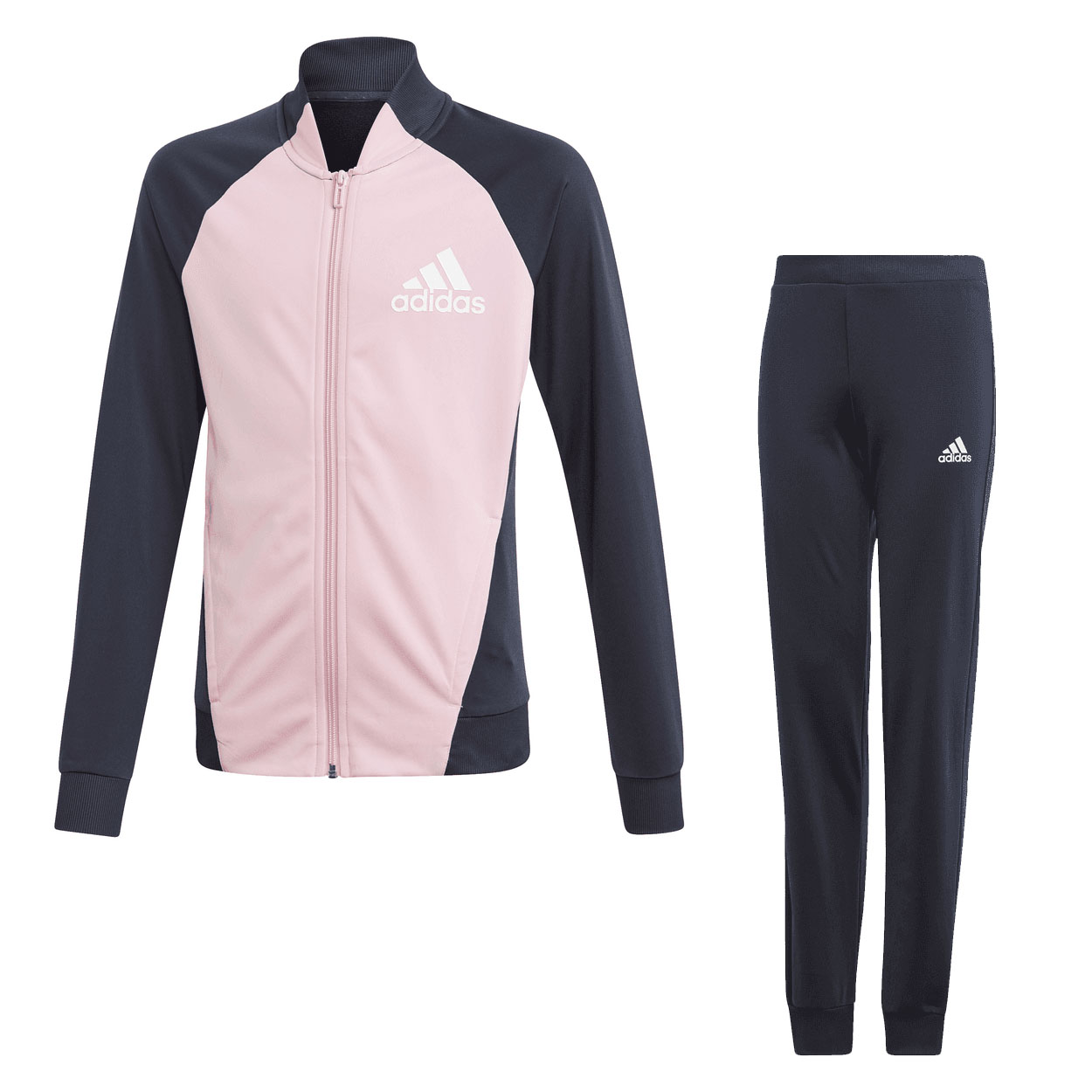 26e3b135d Details about adidas Girls Full Zip Polyester Track Top Pant Tracksuit Set  Pink/Navy