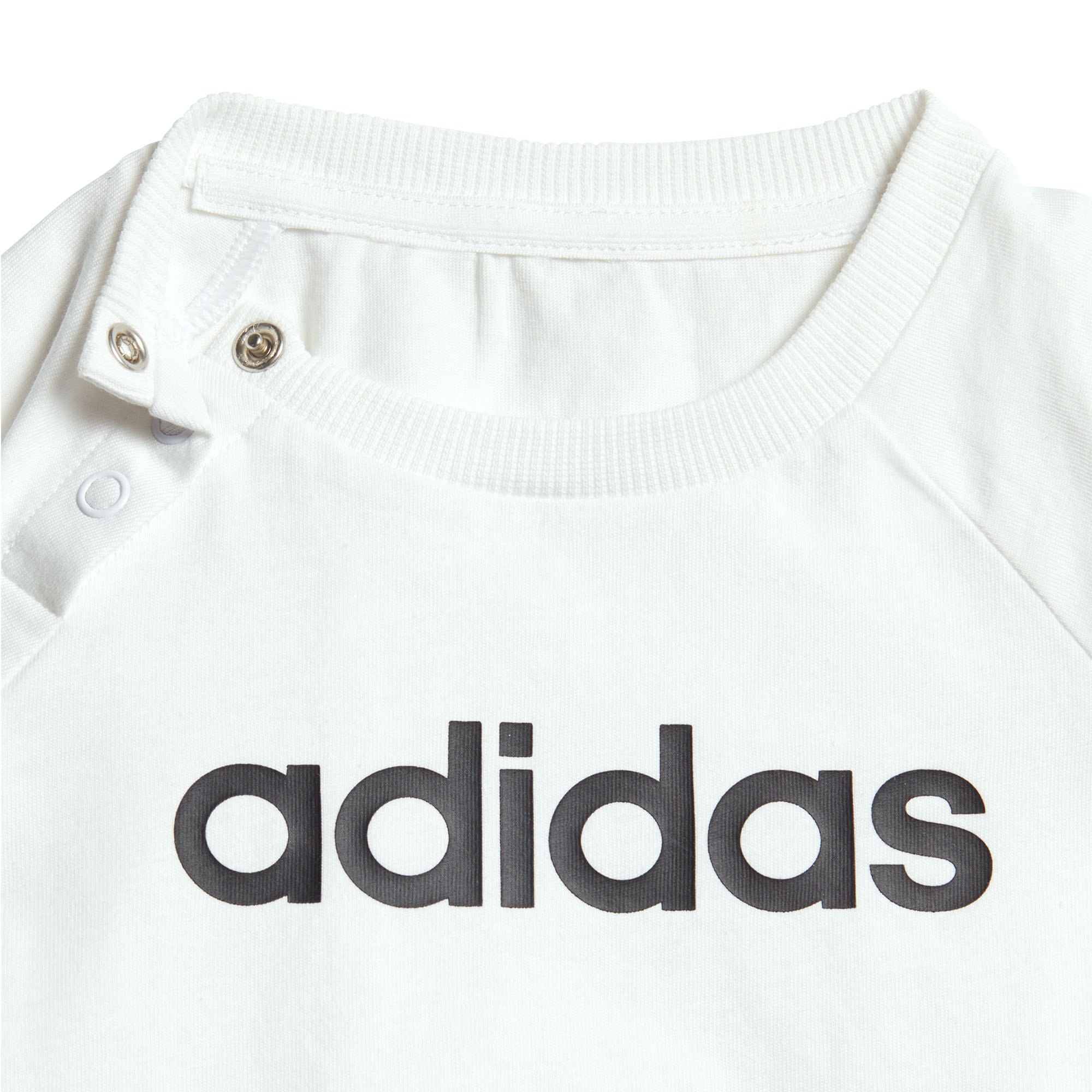 adidas-Linear-Infant-Baby-Toddler-Summer-Outfit-Set-White-Black thumbnail 6