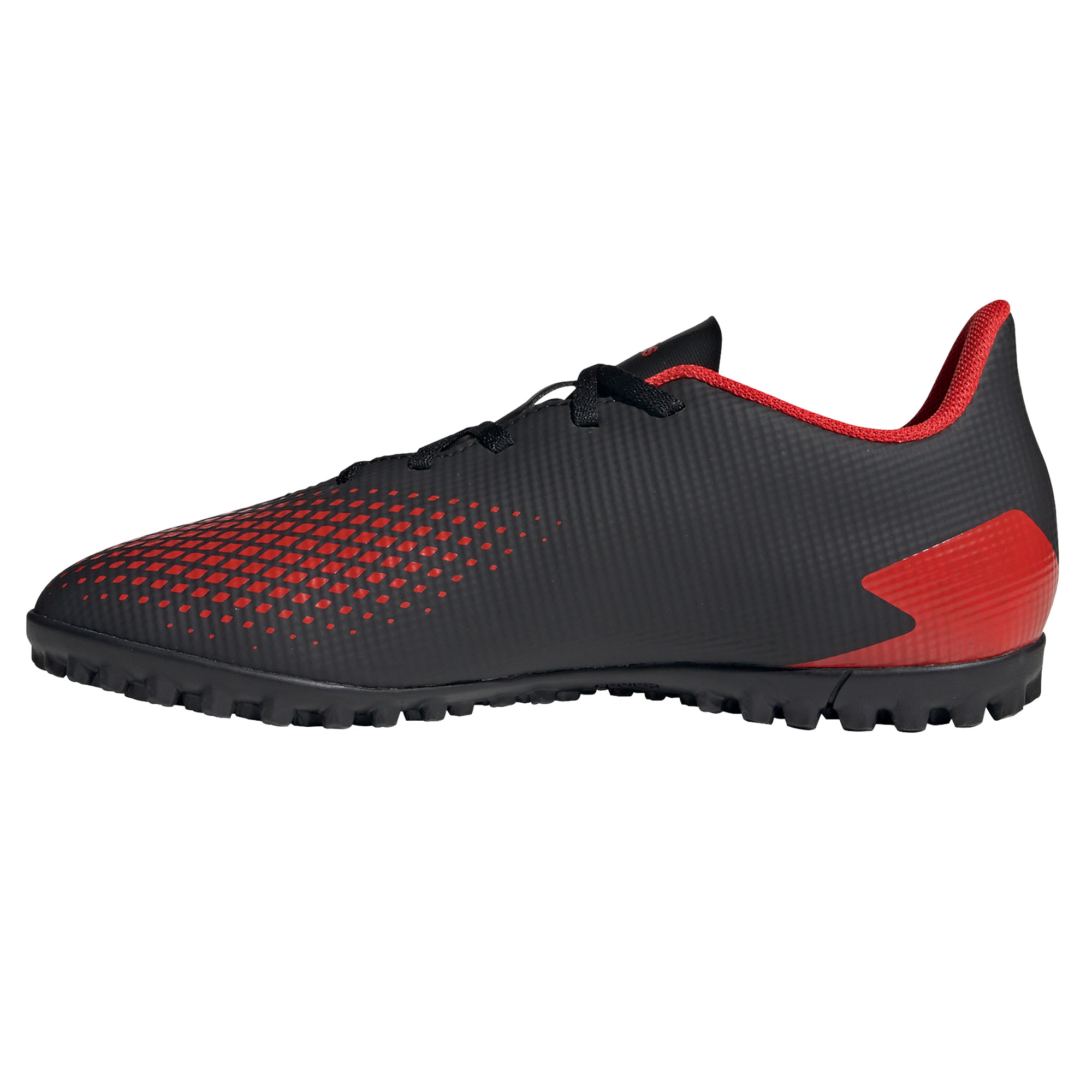 Adidas-Predator-20-4-TF-pour-Homme-Football-Turf-Basket-Chaussure-Noir-Rouge-mutantes miniature 8