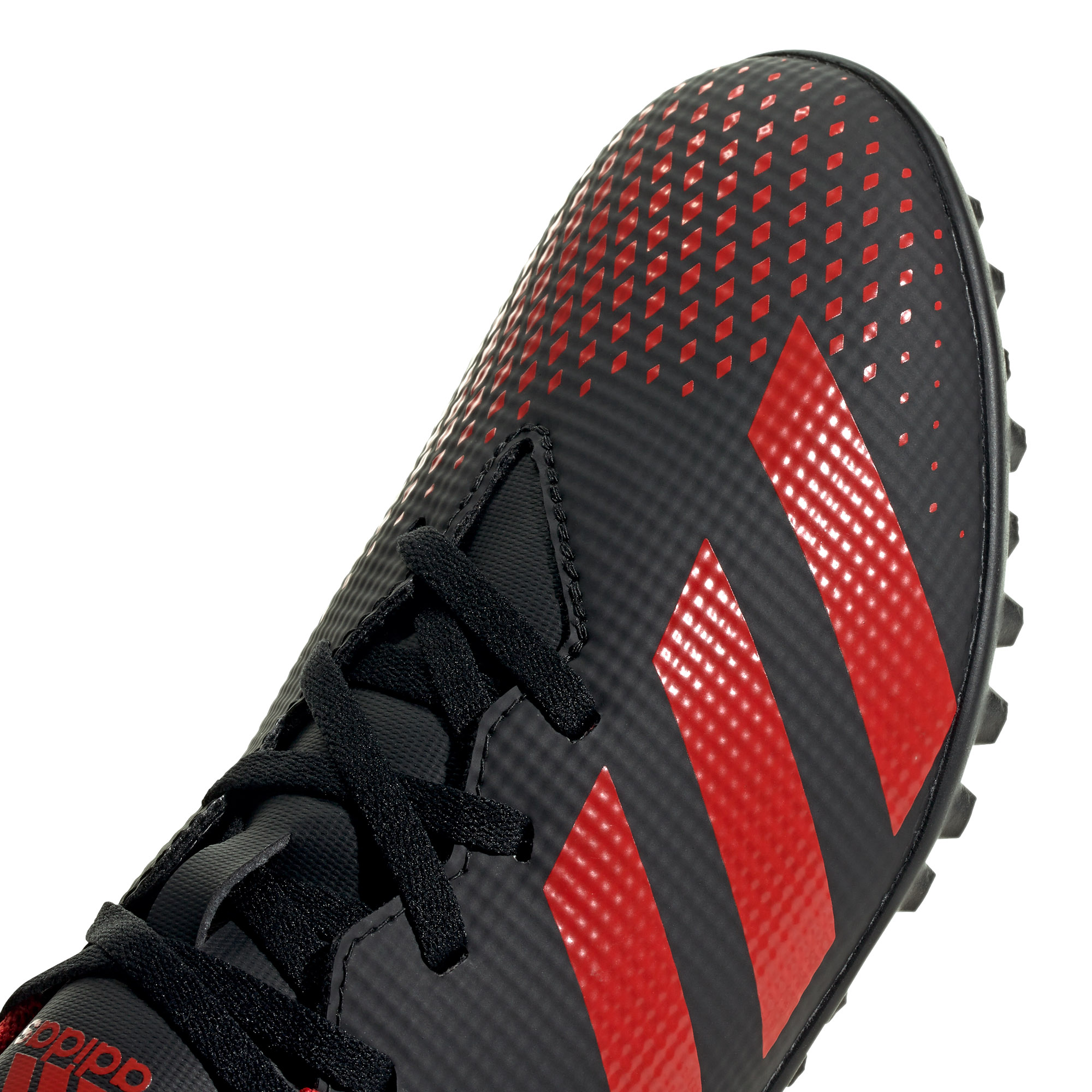 Adidas-Predator-20-4-TF-pour-Homme-Football-Turf-Basket-Chaussure-Noir-Rouge-mutantes miniature 9