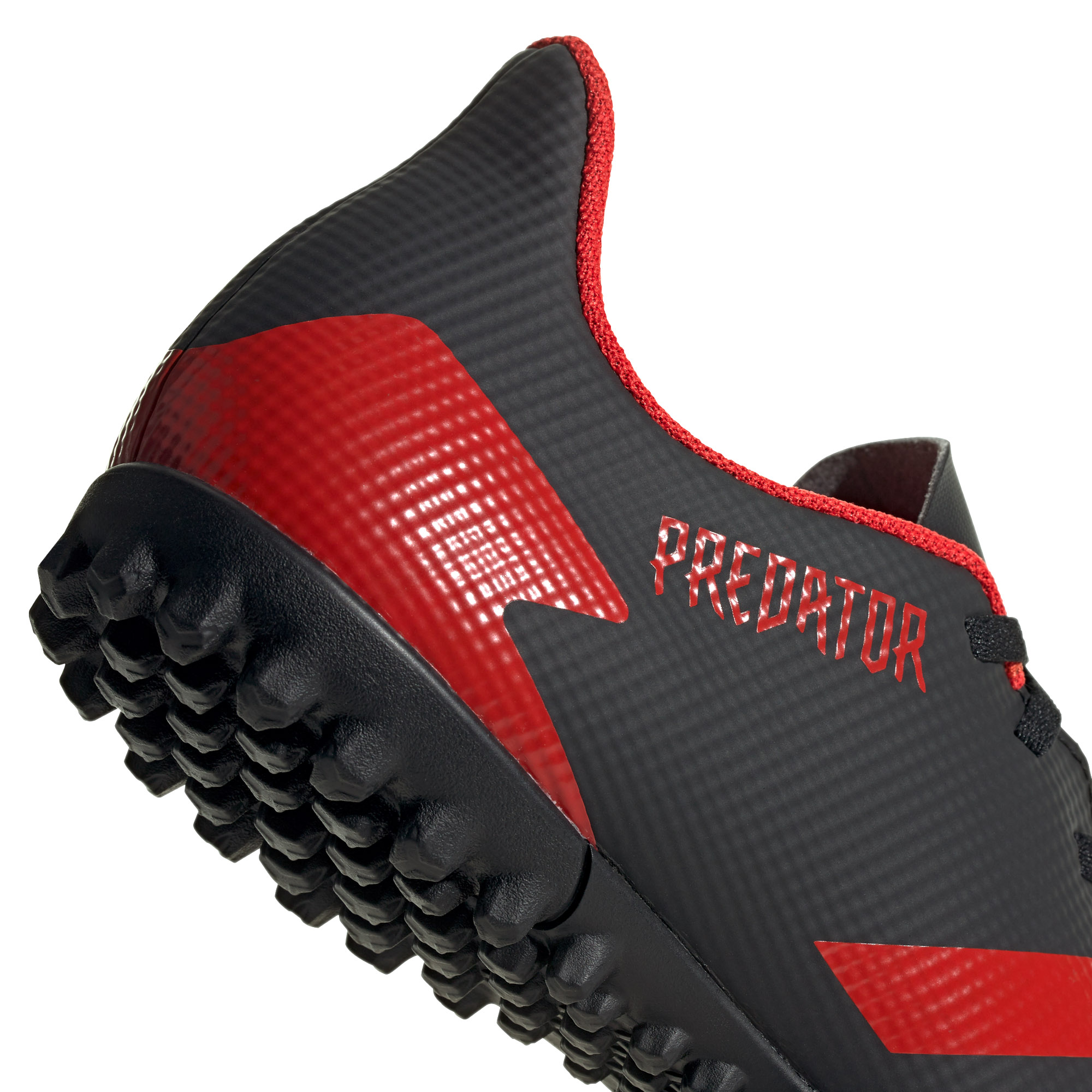 Adidas-Predator-20-4-TF-pour-Homme-Football-Turf-Basket-Chaussure-Noir-Rouge-mutantes miniature 10
