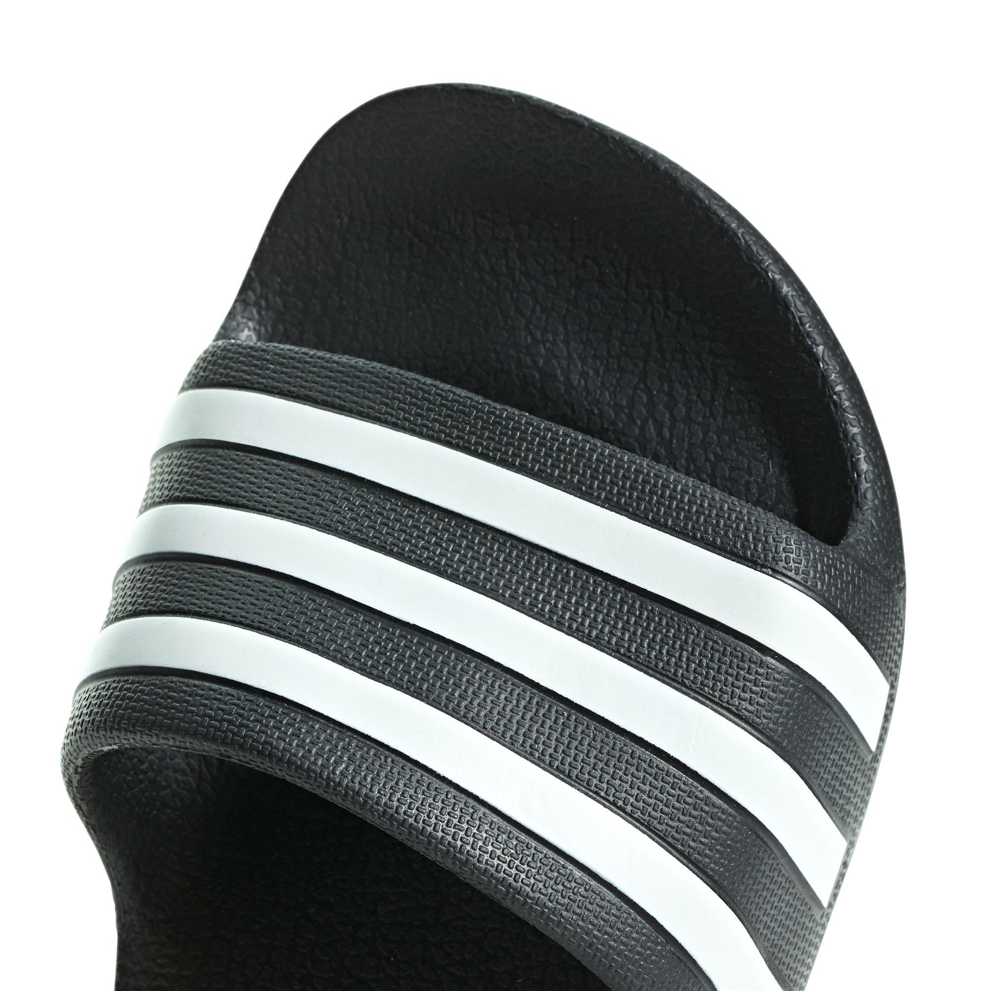 best cheap 72fa1 8c1aa adidas Adilette Aqua Kids Flip Flop Sandal Slide Black  White