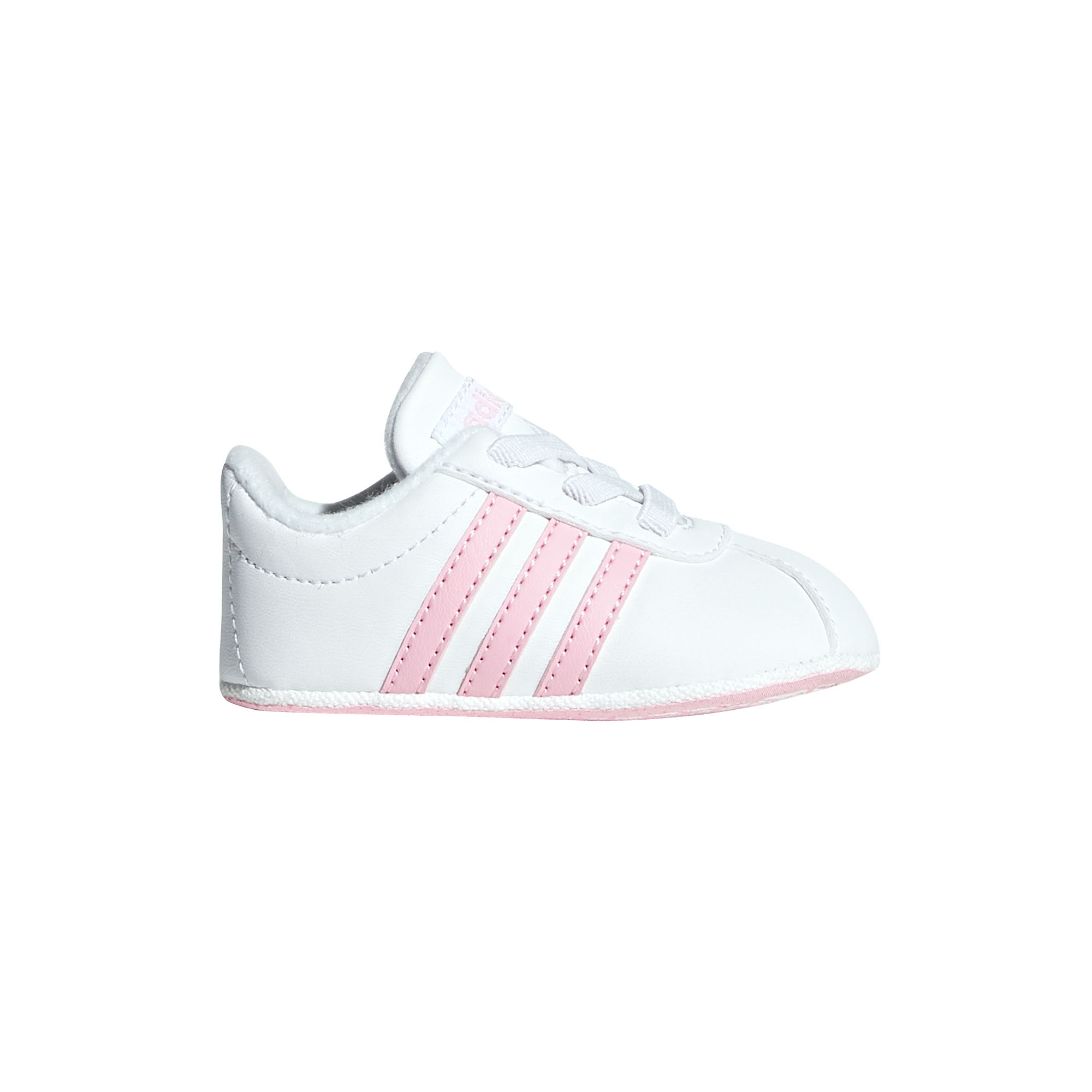 27aac51d Details about adidas VL Court 2.0 Infant Baby Toddler Kids Girls Crib Shoe  White/Pink - UK 3