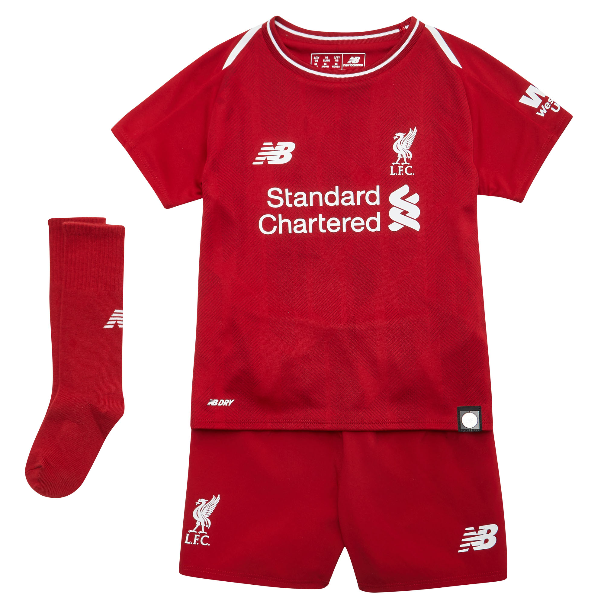0fc49dfcf81 Details about New Balance Liverpool 2018 19 Kids Junior Infant Home  Football Kit Red