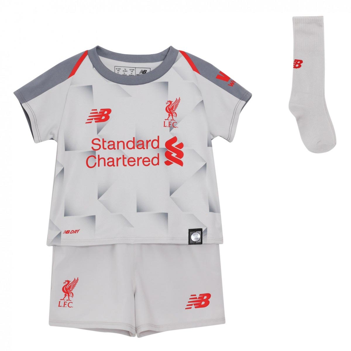 155188dde Details about New Balance Liverpool 2018 19 Junior Infant Third Football  Kit Grey - 2-3 Years