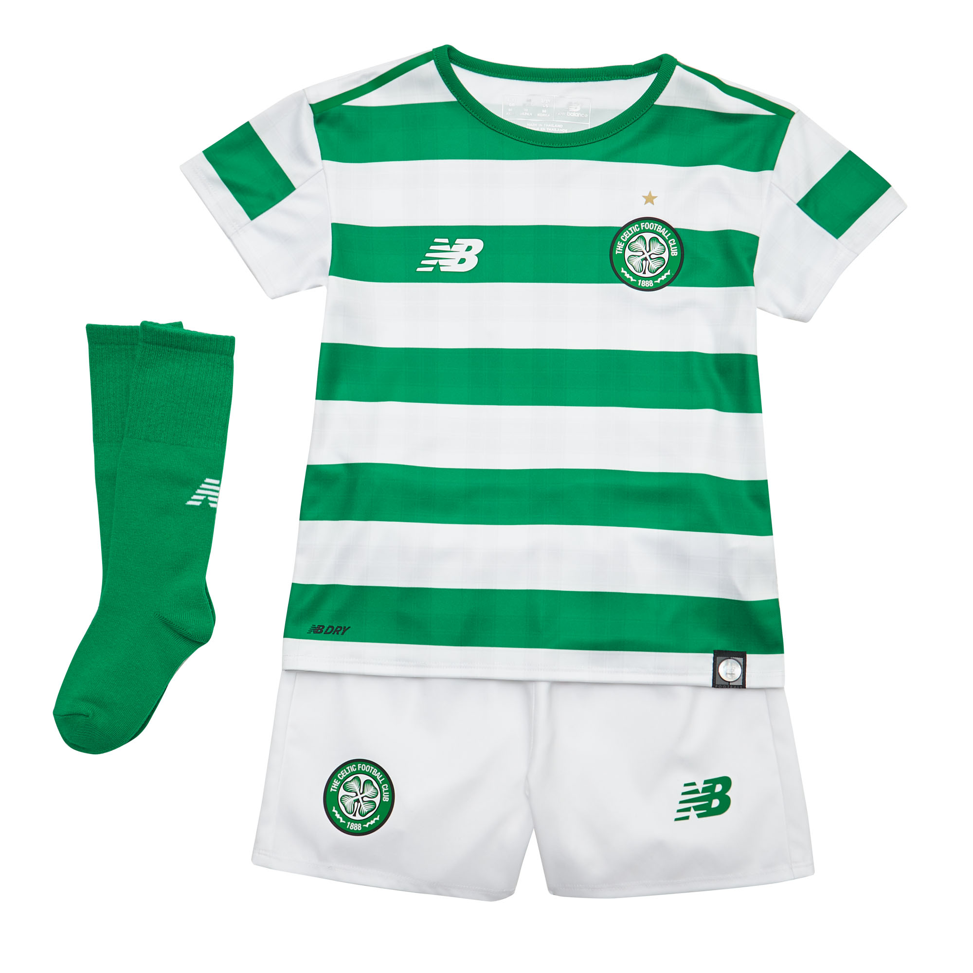f5ccd631ff2 Details about New Balance Celtic FC 2018/19 Junior Infant Home Football Kit  White/Green