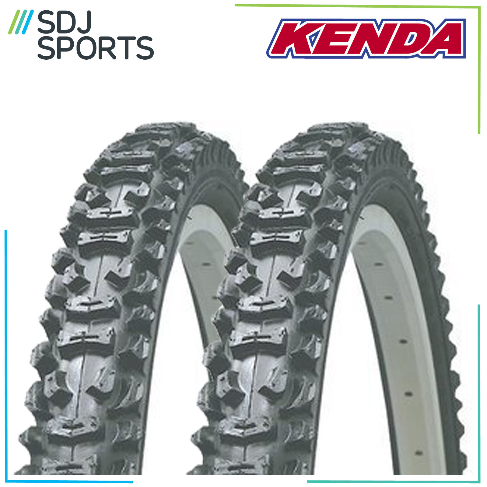 "2X Kenda Smoke 26"" X 1.95 Knobbly Mountain Bike Mtb 26 Inch"
