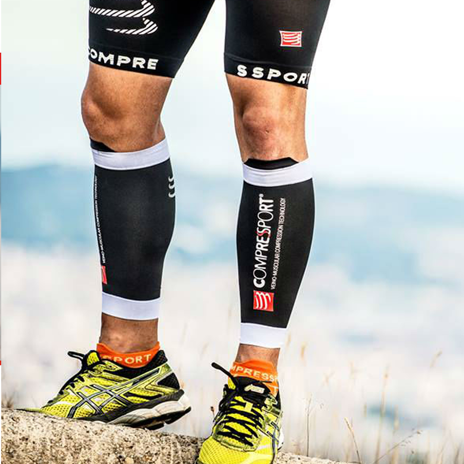 white Compressport Calf R2 V2 R2 = Race /& Recovery MADE IN Switzerland