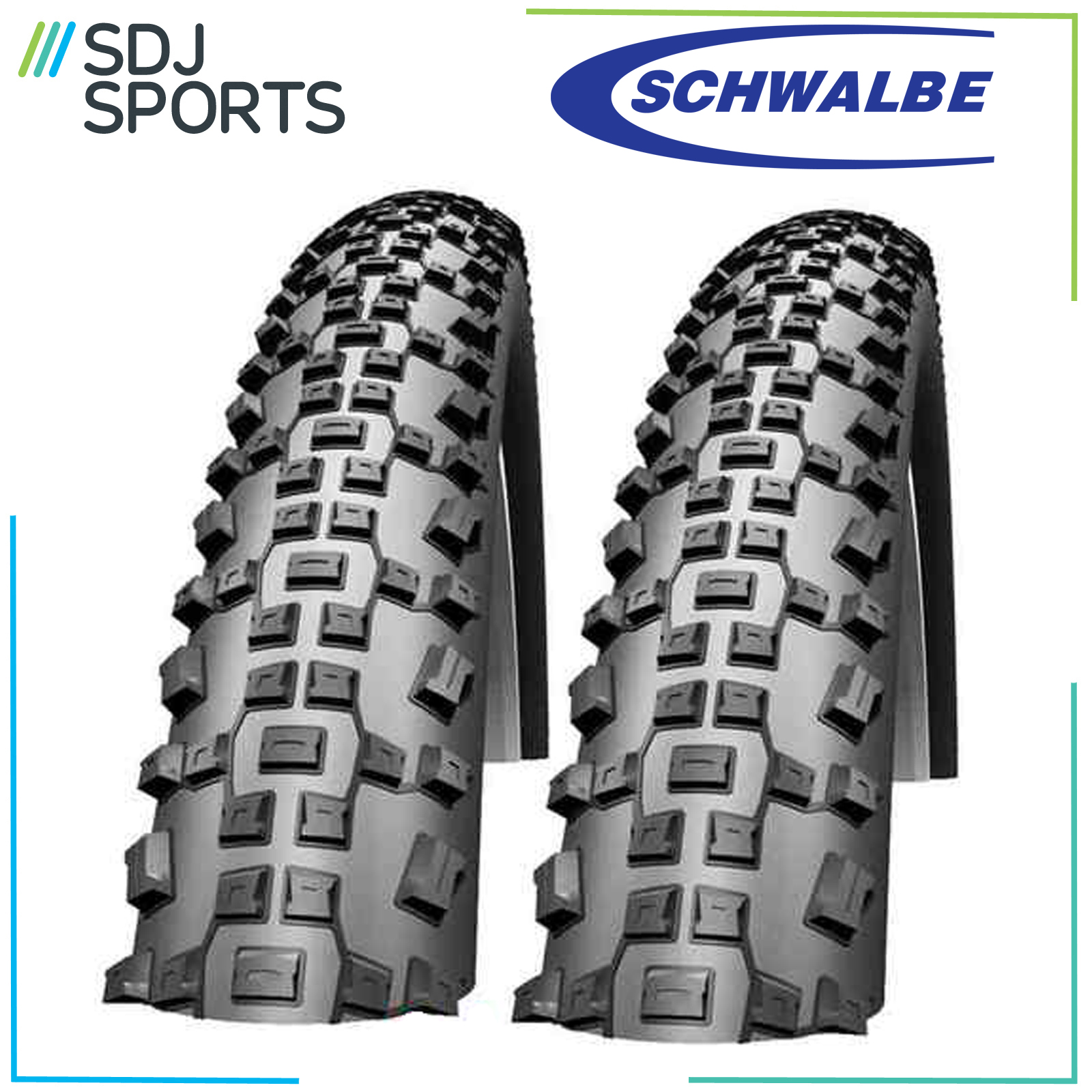 """2X Schwalbe Rapid Rob 26"""" X 2.25 Puncture Protect Guard Moun"""