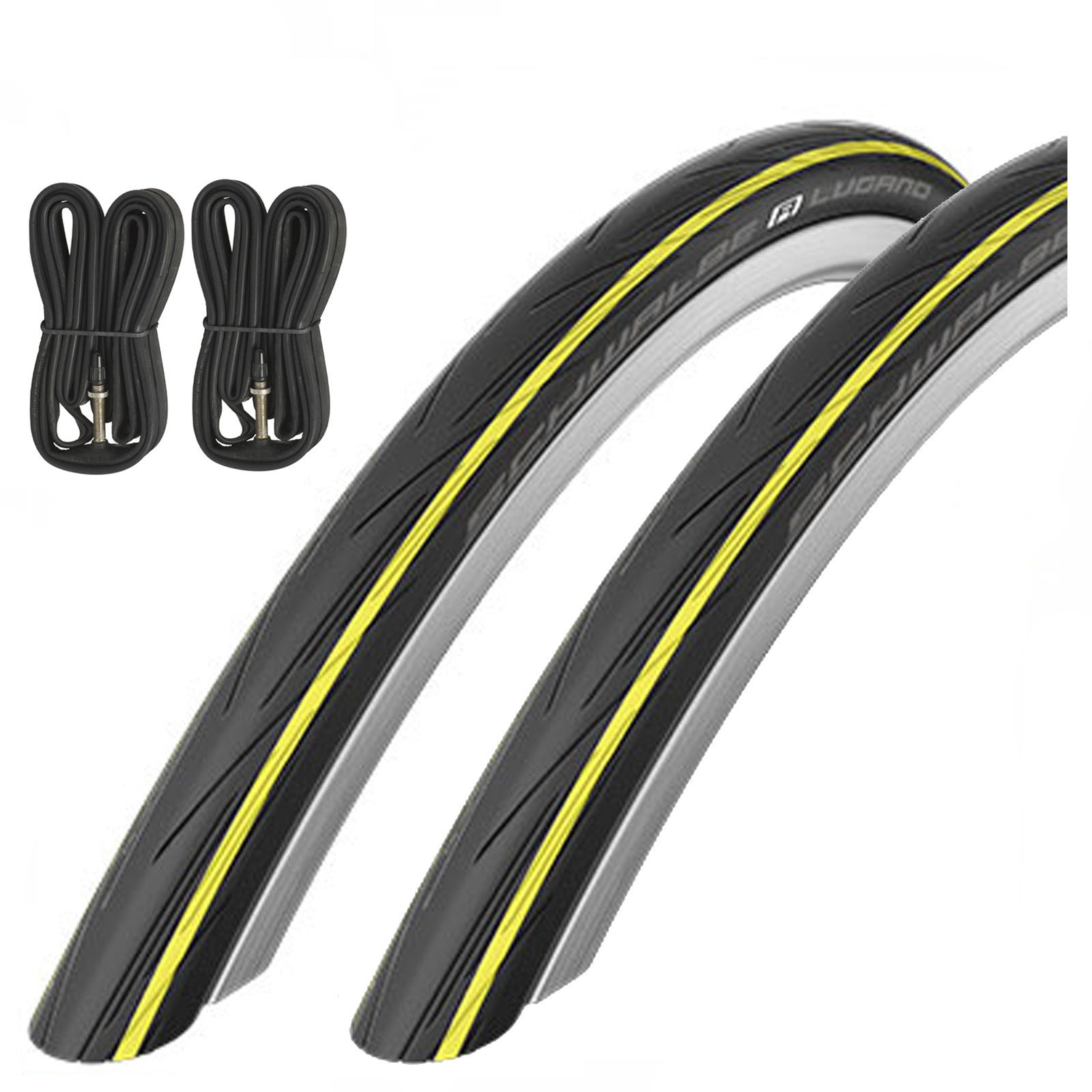 Schwalbe-Lugano-Active-Line-K-Guard-Road-Bike-Tires-amp-Presta-Tubes-700-X-23C