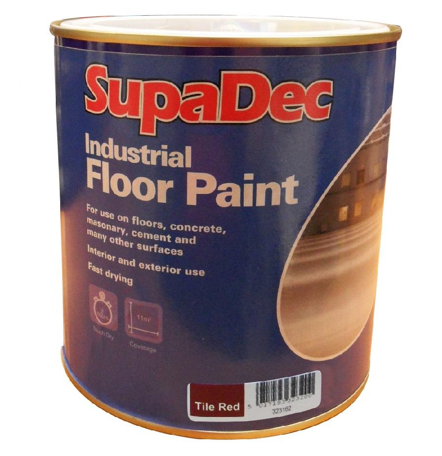 Supadec Industrial Floor Paint 1l Tile Red Black Light