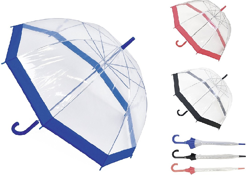 Drizzles Ladies Clear Dome Umbrella Brolly With Matching Crook Handle White