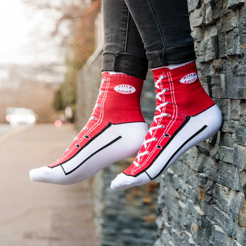 Silly Socks - Red Sneaker (Size 5-11)