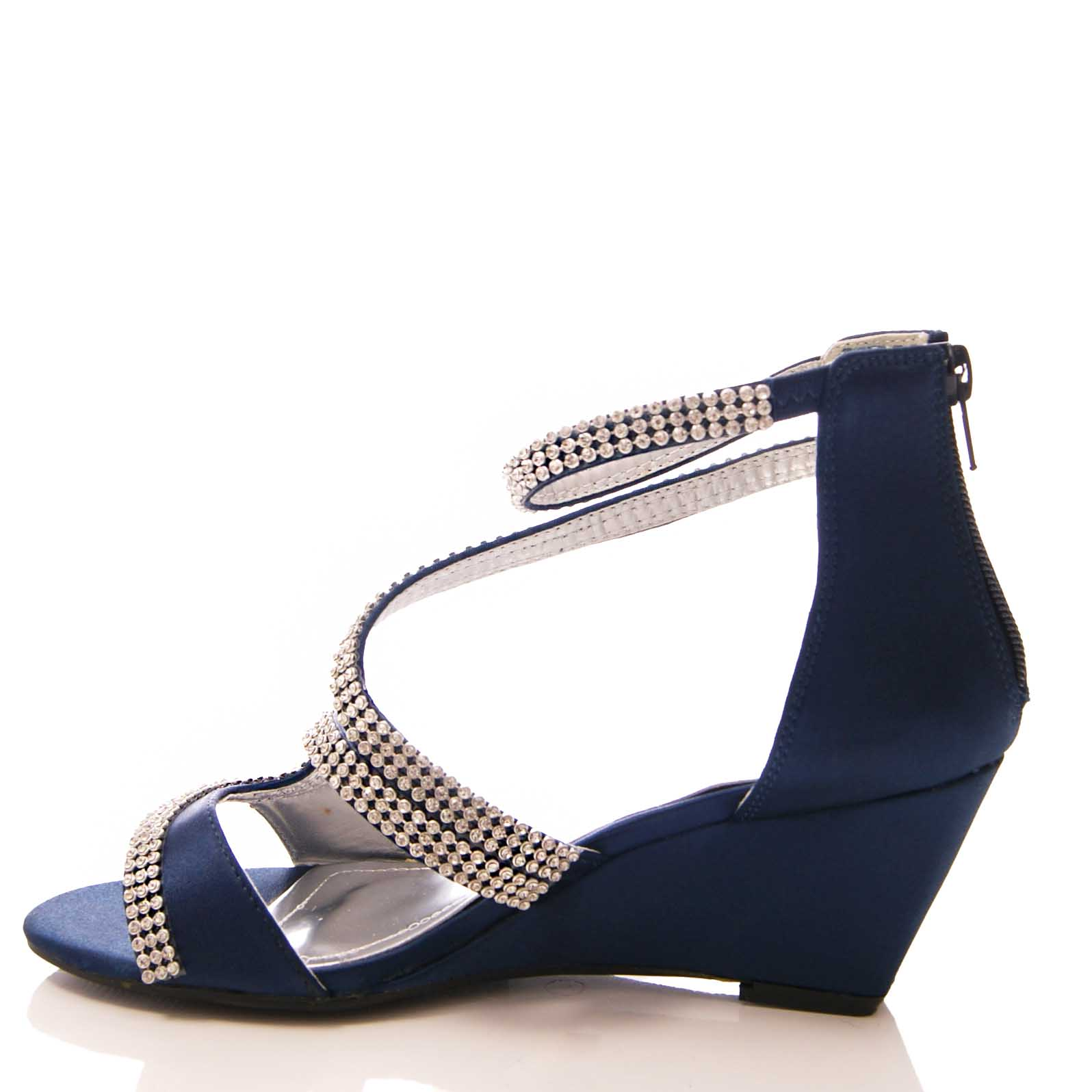 New Ladies Navy Blue Satin Sparkly Med Heel Wedge Party