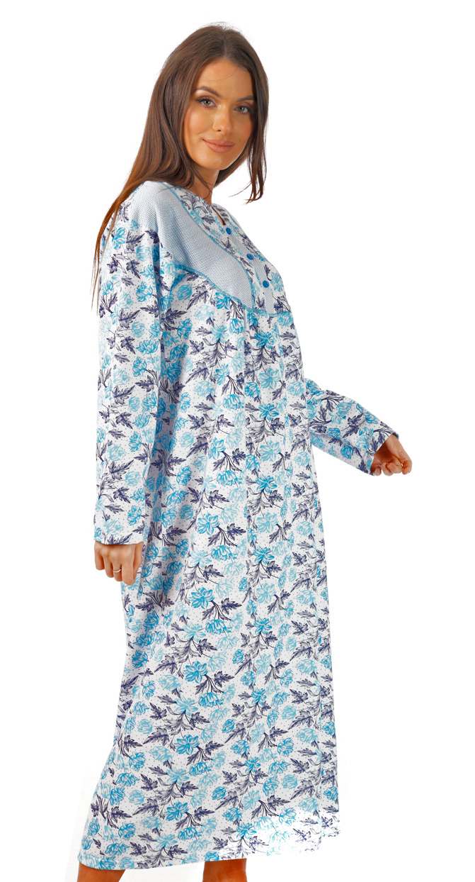 i-Smalls Ladies Full Length Long Sleeve Loose Fit 100/% Brushed Cotton Nightdress Nightie with 3 Button Floral Design M-3XL