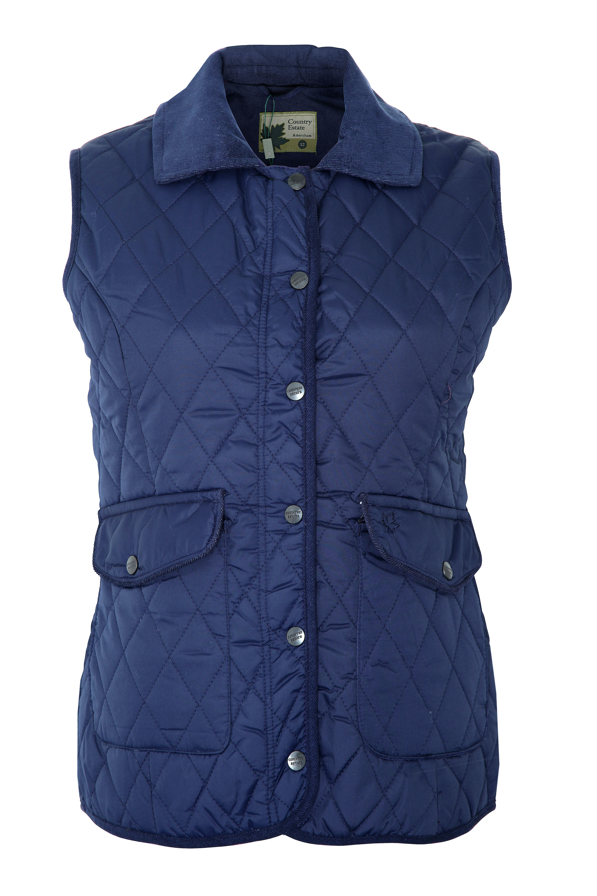 Free UK P/&P Champion Ladies Hythe Quilted Belted Country Jacket Navy