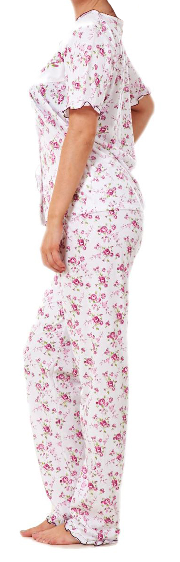 i-Smalls Ladies  Floral Short Sleeve Buttoned Pyjama Set with Lilac Eye Mask