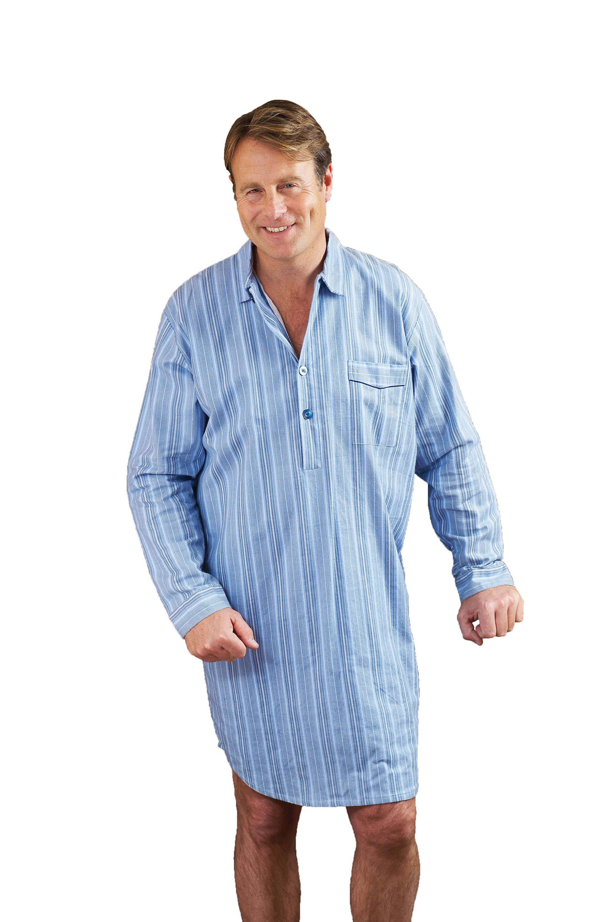 mens champion brushed cotton striped nightshirt sleepwear. Black Bedroom Furniture Sets. Home Design Ideas