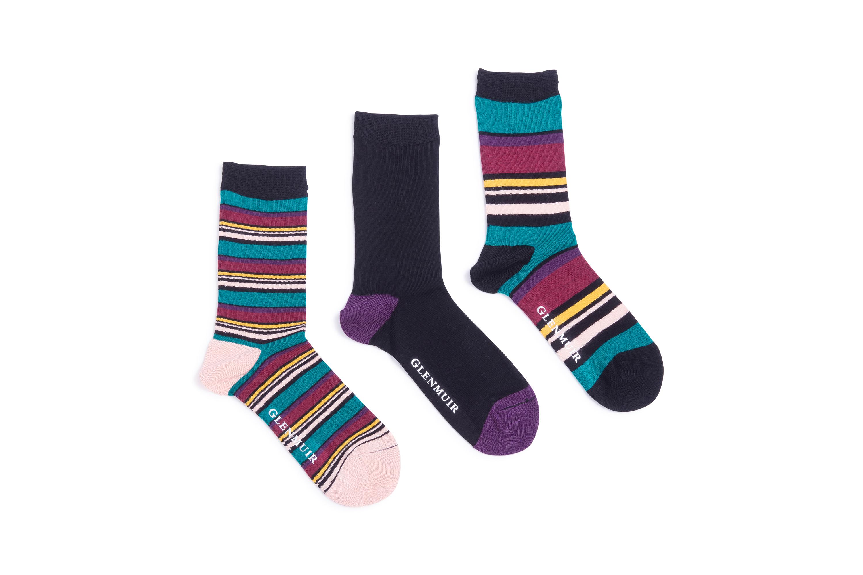 Mens 3 Pair Glenmuir Dots and Stripes Bamboo Socks
