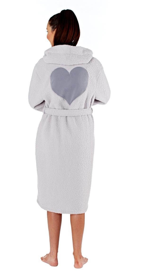 Selena-Secrets-Women-039-s-Victoria-Hooded-Heart-Fleece-Robe thumbnail 4