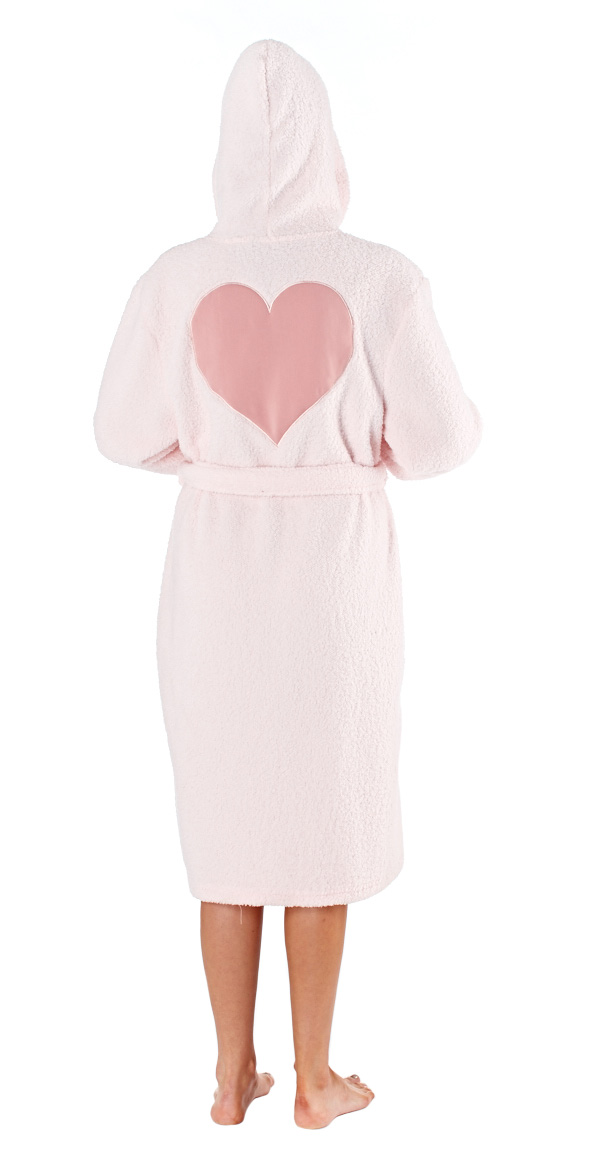 Selena-Secrets-Women-039-s-Victoria-Hooded-Heart-Fleece-Robe thumbnail 6