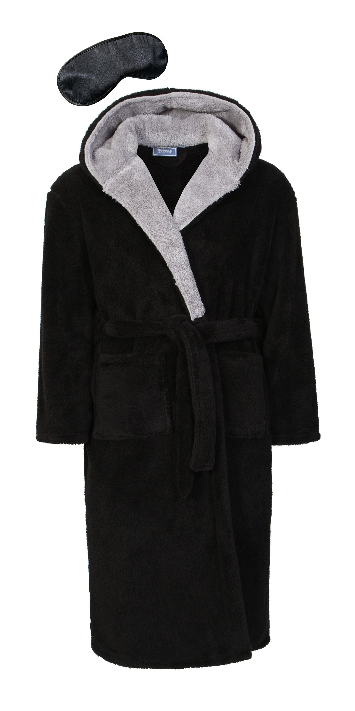 harvey james men 39 s hooded soft fleece robe dressing gown with eye mask ebay. Black Bedroom Furniture Sets. Home Design Ideas