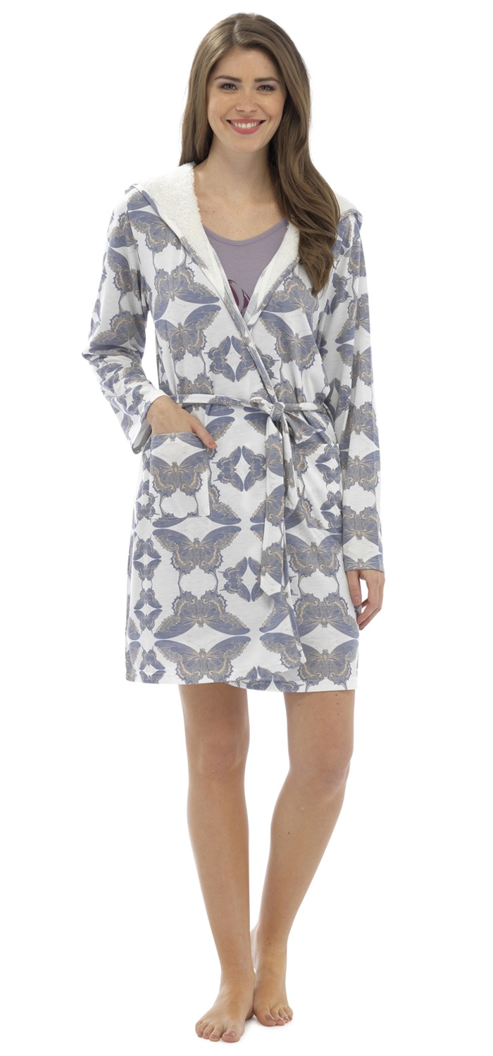 Foxbury Women\'s Printed Sherpa Lined Hooded Dressing Gown Bath Robe ...