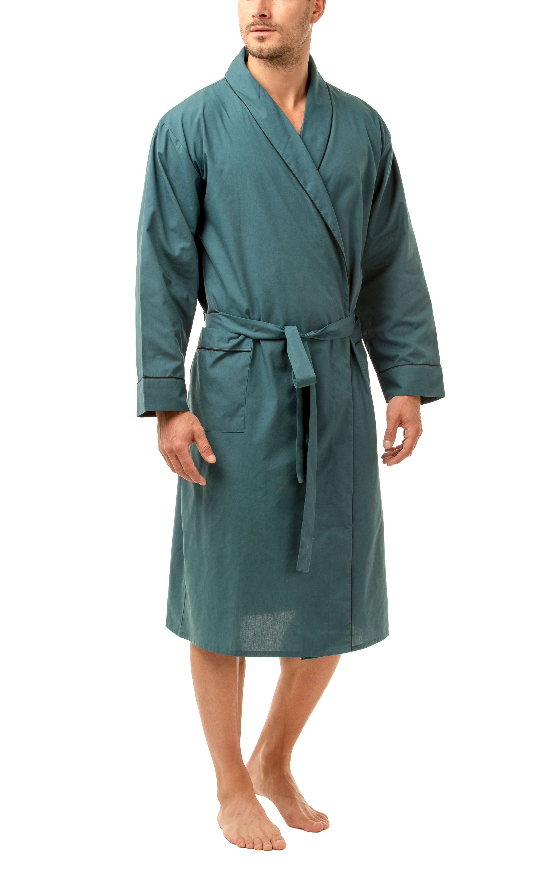 Haigman Men\'s Easy Care Dressing Gown Bath Robe with Cotton ...