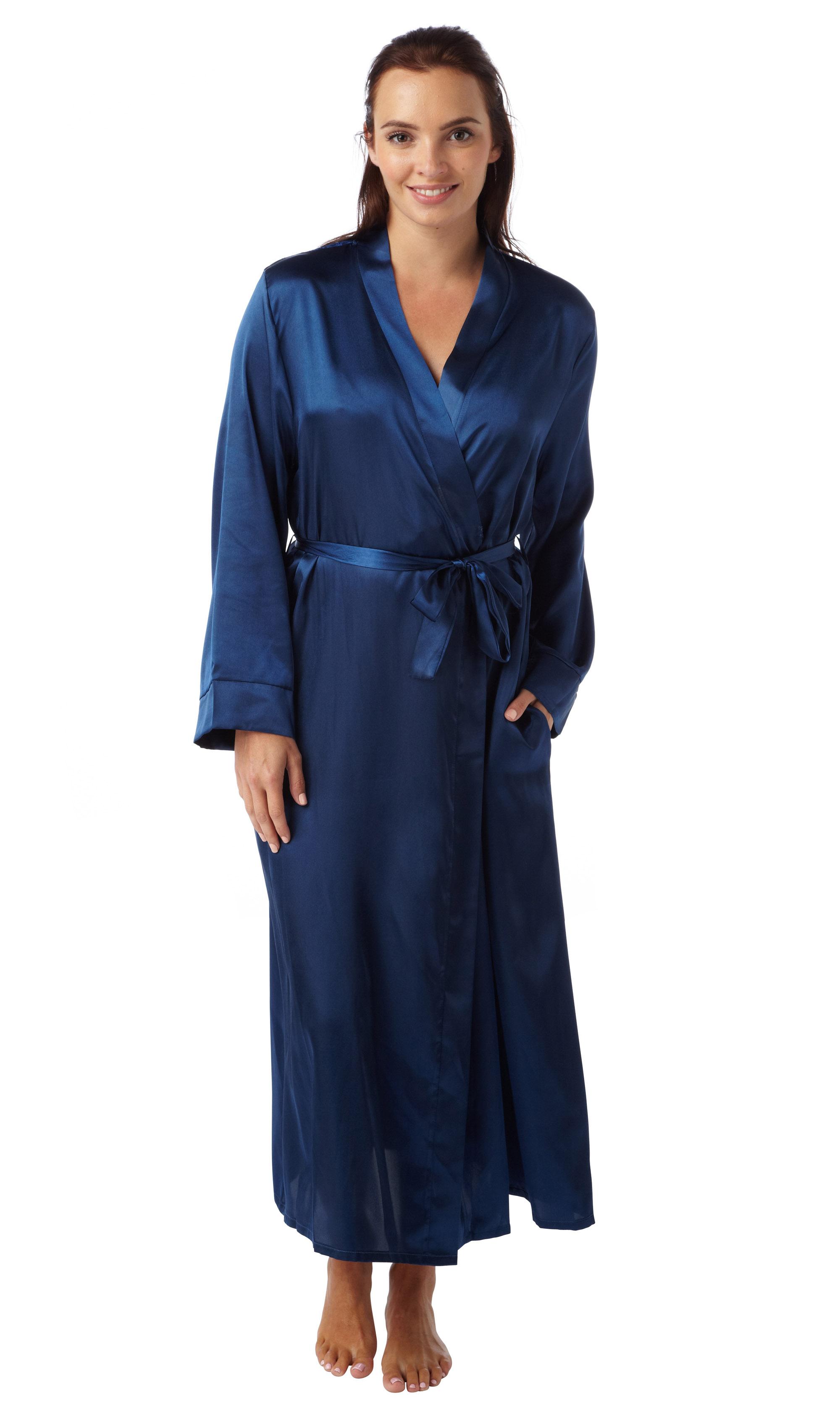 Women\'s Ladies Luxury Soft Satin Lace Detail Wrap Dressing Gown Mn61 ...